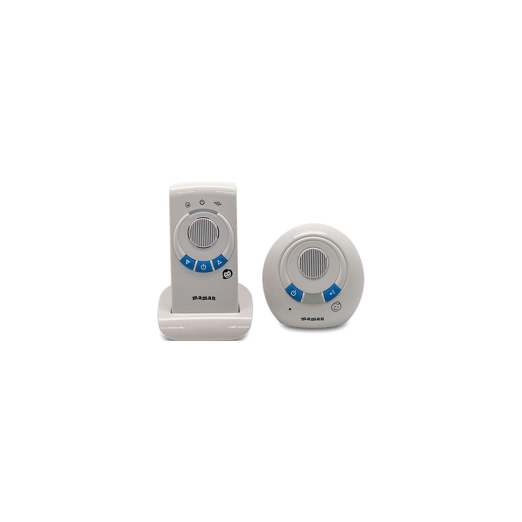 Радионяня RD-2810, MamanЭта беспроводная система аудио-наблюдения поможет контролировать поведение ребенка в детской комнате. Дальность действия устройства составляет 300 метров, сверхчувствительный датчик улавливает малейший шум или шорох ребенка. Радионяня Maman RD-2810 работает как от сети, так и от батареек, отличается интуитивно понятным интерфейсом и простотой управления.<br><br>Дополнительная информация:<br>- Комплектация: передатчик, приемник, сетевой адаптер, подставка, инструкция<br>- Питание: от сети (220 В)/от аккумуляторов 2хААА (идут в комплекте)<br>- Радиуса действия: от 201 до 300 метров<br>- Размер детского блока: 90х90х50 мм<br>- Вес детского блока: 0,07 кг<br>- Размер родительского блока: 58х118х38 мм<br>- Вес родительского блока: 0,08 кг<br><br>Радионяню RD-2810, Maman можно купить в нашем интернет-магазине.<br><br>Ширина мм: 110<br>Глубина мм: 265<br>Высота мм: 185<br>Вес г: 625<br>Возраст от месяцев: 0<br>Возраст до месяцев: 36<br>Пол: Унисекс<br>Возраст: Детский<br>SKU: 4795355
