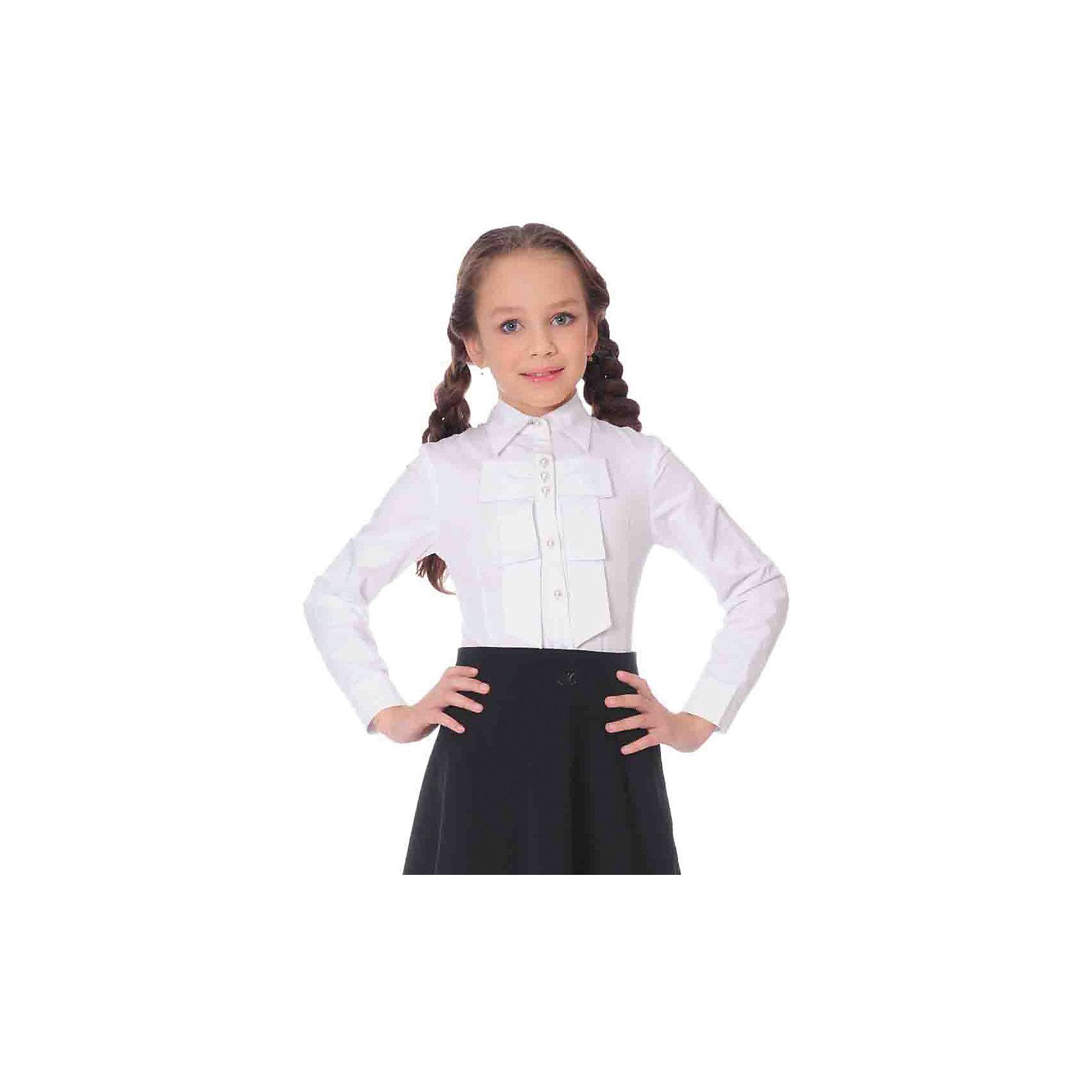 Блузка для девочки Анфиса SkylakeБлузки и рубашки<br>Блузка для девочки Анфиса от известного бренда Skylake.<br>Блузка прилегающего силуэта для девочек младшего и  среднего  школьного возраста.<br>Изготовлена из смесовой  хлопковой ткани белого  цвета.<br>Застежка спереди на планку с пуговицами.<br>Воротник отложной на отрезной стойке.<br>Полочки и спинка блузки с талиевыми вытачками.<br>Полочка на кокетке украшена тремя рядами плиссированных оборок.<br>Рукава втачные короткие типа фонарик на резинке.<br><br>Состав:<br>65%полиэстер,35% хлопок<br><br>Ширина мм: 186<br>Глубина мм: 87<br>Высота мм: 198<br>Вес г: 197<br>Цвет: белый<br>Возраст от месяцев: 96<br>Возраст до месяцев: 108<br>Пол: Женский<br>Возраст: Детский<br>Размер: 134,170,164,158,152,146,140<br>SKU: 4796575