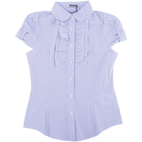 Блузка для девочки Катя SkylakeБлузки и рубашки<br>Блузка для девочки Катя от известного бренда Skylake.<br>Блузка прилегающего силуэта для девочек младшего и  среднего  школьного возраста.<br>Изготовлена из смесовой  хлопковой ткани белого  цвета.<br>Застежка спереди на планку с пуговицами.<br>Воротник отложной на отрезной стойке.<br>Полочки и спинка блузки с талиевыми вытачками.<br>Полочка на кокетке украшена тремя рядами плиссированных оборок.<br>Рукава втачные короткие типа фонарик на резинке.<br><br>Состав:<br>65%полиэстер,35% хлопок<br><br>Ширина мм: 186<br>Глубина мм: 87<br>Высота мм: 198<br>Вес г: 197<br>Цвет: голубой<br>Возраст от месяцев: 132<br>Возраст до месяцев: 144<br>Пол: Женский<br>Возраст: Детский<br>Размер: 152,128,134,140,146,158<br>SKU: 4796583
