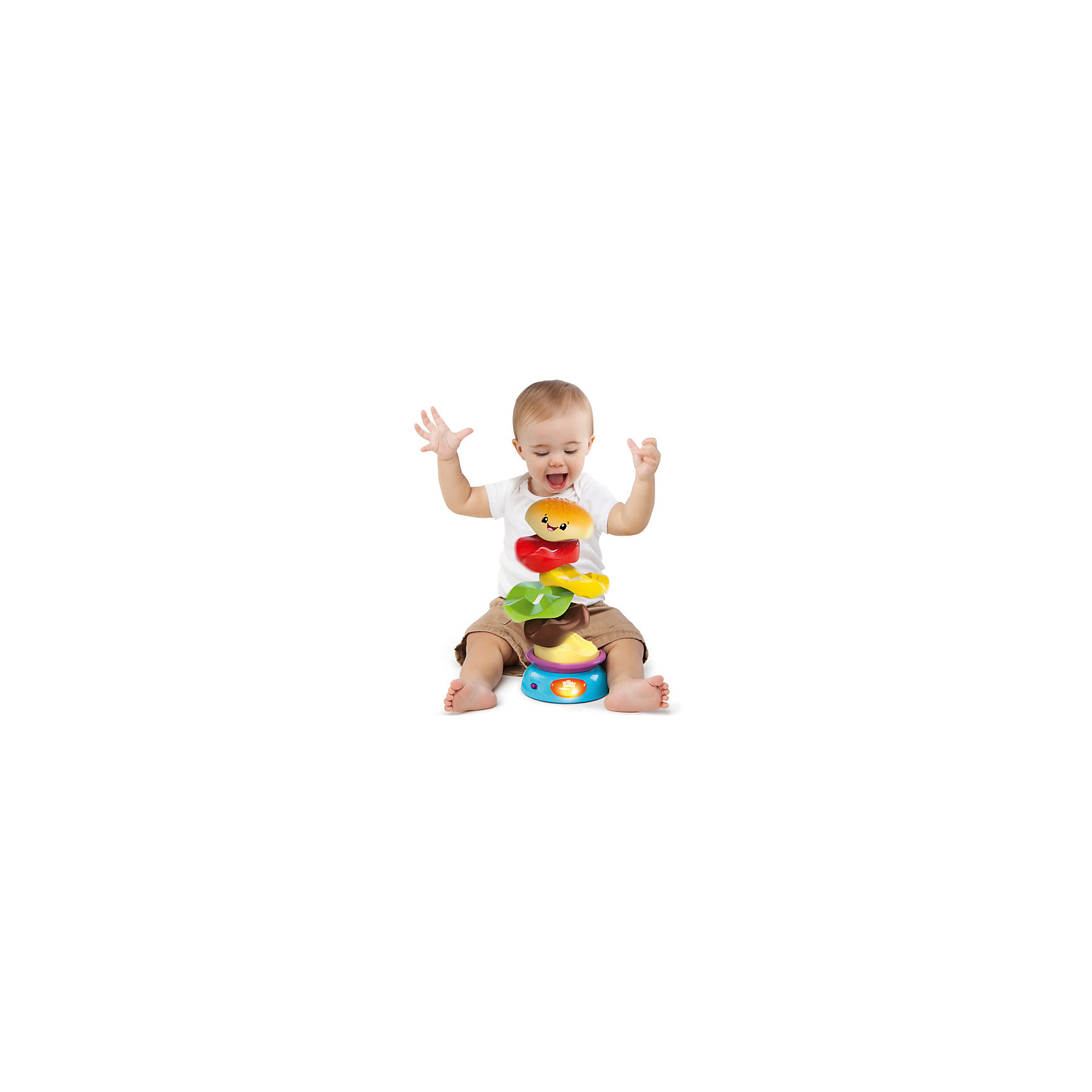 Развивающая игрушка-пирамидка «Веселый бутерброд», Bright StartsХарактеристики музыкальной игрушки Bright Starts:<br><br>• высота пирамидки: 20 см;<br>• звуковые эффекты: смех и музыка;<br>• элементы пирамидки вращаются вокруг основания;<br>• развивается мелкая моторика, внимание, цветовосприятие;<br>• размер упаковки: 24х19х15 см;<br>• батарейки входят в комплект: 2 шт. типа АА. <br><br>Музыкальная игрушка «Веселый бутерброд» представляет собой пирамидку, на основание которой надеваются ингредиенты бутерброда. Колечки имеют рельефную поверхность, при соединении деталей необходимо учитывать выпуклости и впадинки колец. В процессе игры развивается мелкая моторика, слух, малыш изучает цвета и формы. <br><br>Развивающую игрушку-пирамидку «Веселый бутерброд», Bright Starts можно купить в нашем интернет-магазине.<br><br>Ширина мм: 198<br>Глубина мм: 160<br>Высота мм: 244<br>Вес г: 760<br>Возраст от месяцев: 0<br>Возраст до месяцев: 36<br>Пол: Унисекс<br>Возраст: Детский<br>SKU: 4796642