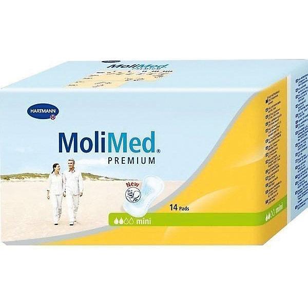 Прокладки MoliMed Premium mini впитываемость 316 мл, 14шт, HartmannУход и гигиена<br>Рекомендуются при критических днях, легкой степени недержания у женщин, ведущих активный образ жизни, и в качестве защитного средства после вагинальных вмешательств до и после родов. Прокладки имеют анатомическую форму и трехслойную впитывающую подушку, которая обеспечивает максимальную впитываемость. Гипоаллергенны, подходят для чувствительной кожи. Незаметны при ношении. <br>Впитываемость: 316 мл.<br>Состав<br>    Изготовлены из экологически чистого сырья, дерматологически протестированы, предотвращают появление возможных раздражений кожи.<br>    Впитывающий слой Dry-Plus из распушенной целлюлозы поглощает влагу во впитывающую подушку, оставаясь сухим для кожи<br>    Суперабсорбент High Dry SAP, превращающий жидкость в гель, удерживает жидкость и запах внутри.<br>    Эластичный кант, плотно прилегающий к телу, предотвращая протекание, гарантирует комфорт и надежность.<br>    Широкая клеящая полоса надежно фиксирует прокладку к белью.<br><br>Ширина мм: 120<br>Глубина мм: 220<br>Высота мм: 150<br>Вес г: 230<br>Возраст от месяцев: 216<br>Возраст до месяцев: 1188<br>Пол: Унисекс<br>Возраст: Детский<br>SKU: 4796664