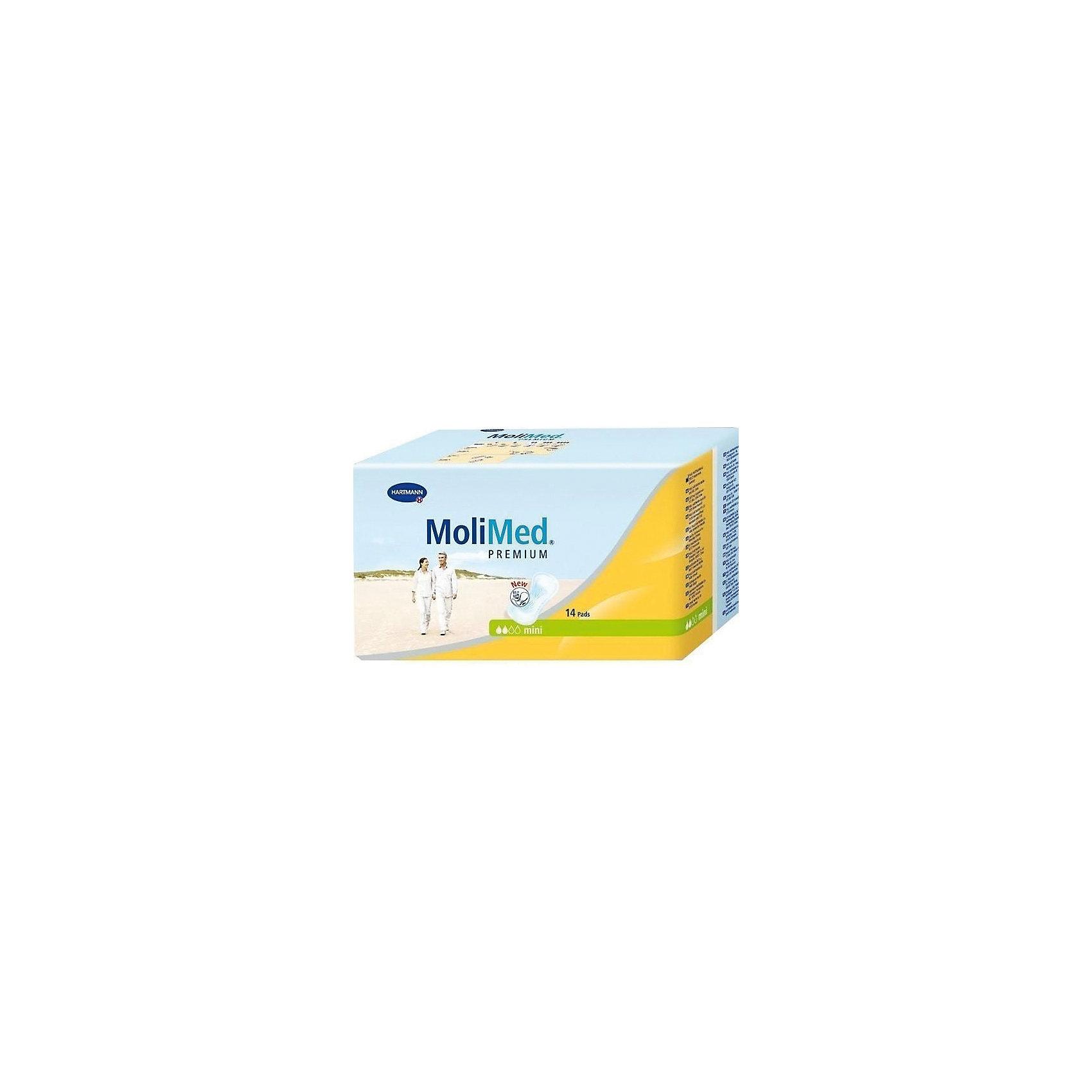 Прокладки MoliMed Premium mini впитываемость 316 мл, 14шт, HartmannСредства для ухода<br>Рекомендуются при критических днях, легкой степени недержания у женщин, ведущих активный образ жизни, и в качестве защитного средства после вагинальных вмешательств до и после родов. Прокладки имеют анатомическую форму и трехслойную впитывающую подушку, которая обеспечивает максимальную впитываемость. Гипоаллергенны, подходят для чувствительной кожи. Незаметны при ношении. <br>Впитываемость: 316 мл.<br>Состав<br>    Изготовлены из экологически чистого сырья, дерматологически протестированы, предотвращают появление возможных раздражений кожи.<br>    Впитывающий слой Dry-Plus из распушенной целлюлозы поглощает влагу во впитывающую подушку, оставаясь сухим для кожи<br>    Суперабсорбент High Dry SAP, превращающий жидкость в гель, удерживает жидкость и запах внутри.<br>    Эластичный кант, плотно прилегающий к телу, предотвращая протекание, гарантирует комфорт и надежность.<br>    Широкая клеящая полоса надежно фиксирует прокладку к белью.<br><br>Ширина мм: 120<br>Глубина мм: 220<br>Высота мм: 150<br>Вес г: 230<br>Возраст от месяцев: 216<br>Возраст до месяцев: 1188<br>Пол: Унисекс<br>Возраст: Детский<br>SKU: 4796664