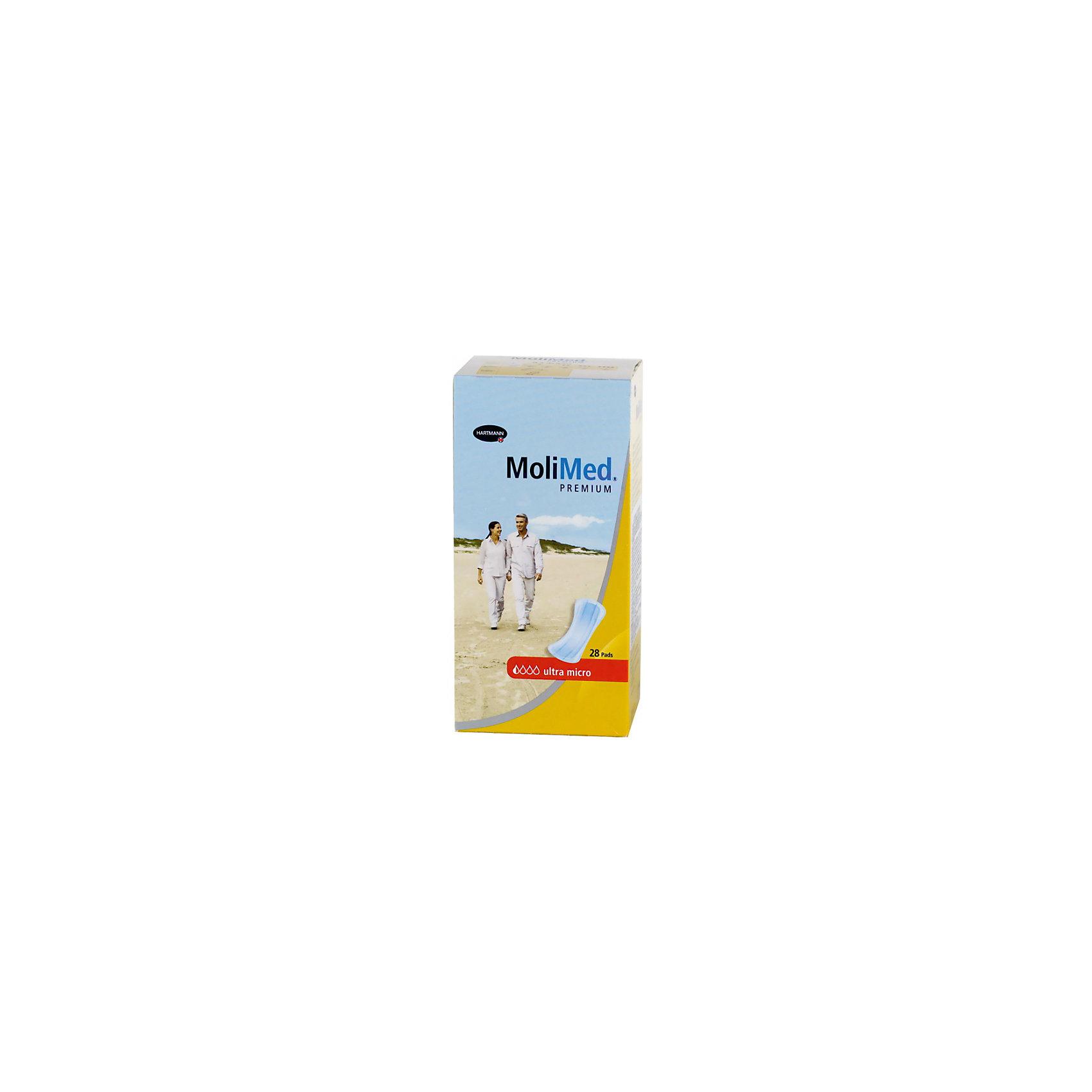 Прокладки MoliMed Premium ultra micro впитываемость 80 мл. (28шт.), HartmannБыстро впитывающие прокладки MoliMed (Молимед) Premium имеют ультрасорбционный слой Dry Plus,благодаря которому происходит действие переработки влаги в гель,что обеспечивает сухое состояние коже.Молекула CyDex предотвращает неприятные запахи,в свою очередь эластичные манжеты препятствуют развитию раздражительных процессов,а также противодействуют вытеканию жидкости из прокладок,при этом обеспечивая дыхание коже.Данные прокладки предназначены для применения во время небольших процессов выделения в послеродовой период.<br><br>Ширина мм: 120<br>Глубина мм: 220<br>Высота мм: 150<br>Вес г: 175<br>Возраст от месяцев: 216<br>Возраст до месяцев: 1188<br>Пол: Унисекс<br>Возраст: Детский<br>SKU: 4796665