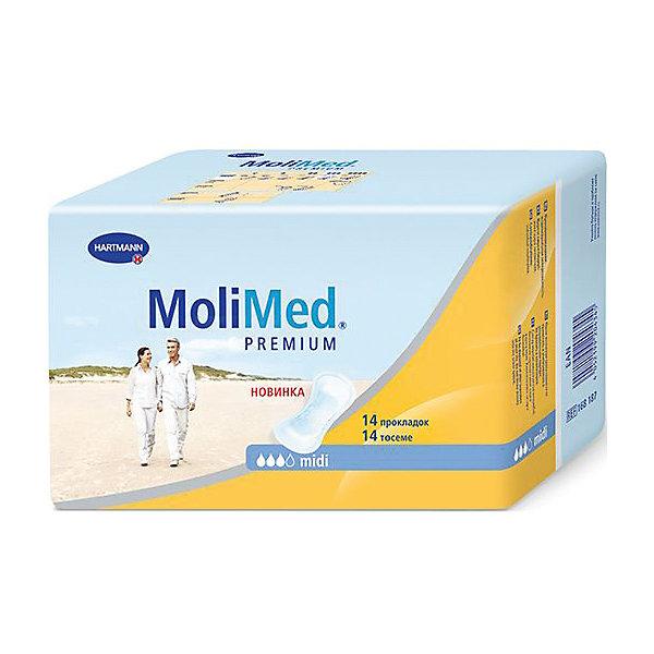 Прокладки MoliMed Premium midi впитываемость 467 мл, 14шт, HartmannУход и гигиена<br>Быстро впитывающие прокладки MoliMed (Молимед) Premium имеют ультрасорбционный слой Dry Plus,благодаря которому происходит действие переработки влаги в гель,что обеспечивает сухое состояние коже.Молекула CyDex предотвращает неприятные запахи,в свою очередь эластичные манжеты препятствуют развитию раздражительных процессов,а также противодействуют вытеканию жидкости из прокладок,при этом обеспечивая дыхание коже.Данные прокладки предназначены для применения во время небольших процессов выделения в послеродовой период.<br><br>Ширина мм: 120<br>Глубина мм: 220<br>Высота мм: 150<br>Вес г: 320<br>Возраст от месяцев: 216<br>Возраст до месяцев: 1188<br>Пол: Унисекс<br>Возраст: Детский<br>SKU: 4796667