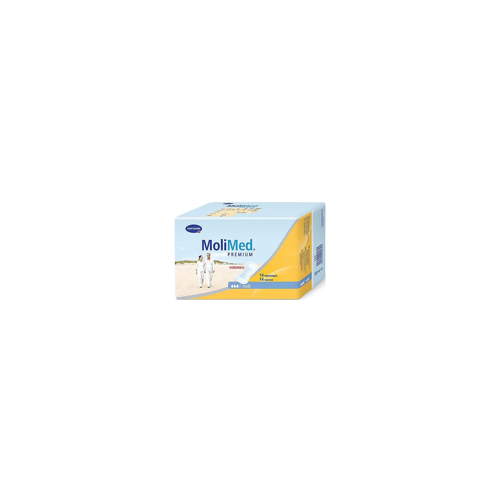 Прокладки MoliMed Premium midi впитываемость 467 мл, 14шт, HartmannСредства для ухода<br>Быстро впитывающие прокладки MoliMed (Молимед) Premium имеют ультрасорбционный слой Dry Plus,благодаря которому происходит действие переработки влаги в гель,что обеспечивает сухое состояние коже.Молекула CyDex предотвращает неприятные запахи,в свою очередь эластичные манжеты препятствуют развитию раздражительных процессов,а также противодействуют вытеканию жидкости из прокладок,при этом обеспечивая дыхание коже.Данные прокладки предназначены для применения во время небольших процессов выделения в послеродовой период.<br><br>Ширина мм: 120<br>Глубина мм: 220<br>Высота мм: 150<br>Вес г: 320<br>Возраст от месяцев: 216<br>Возраст до месяцев: 1188<br>Пол: Унисекс<br>Возраст: Детский<br>SKU: 4796667
