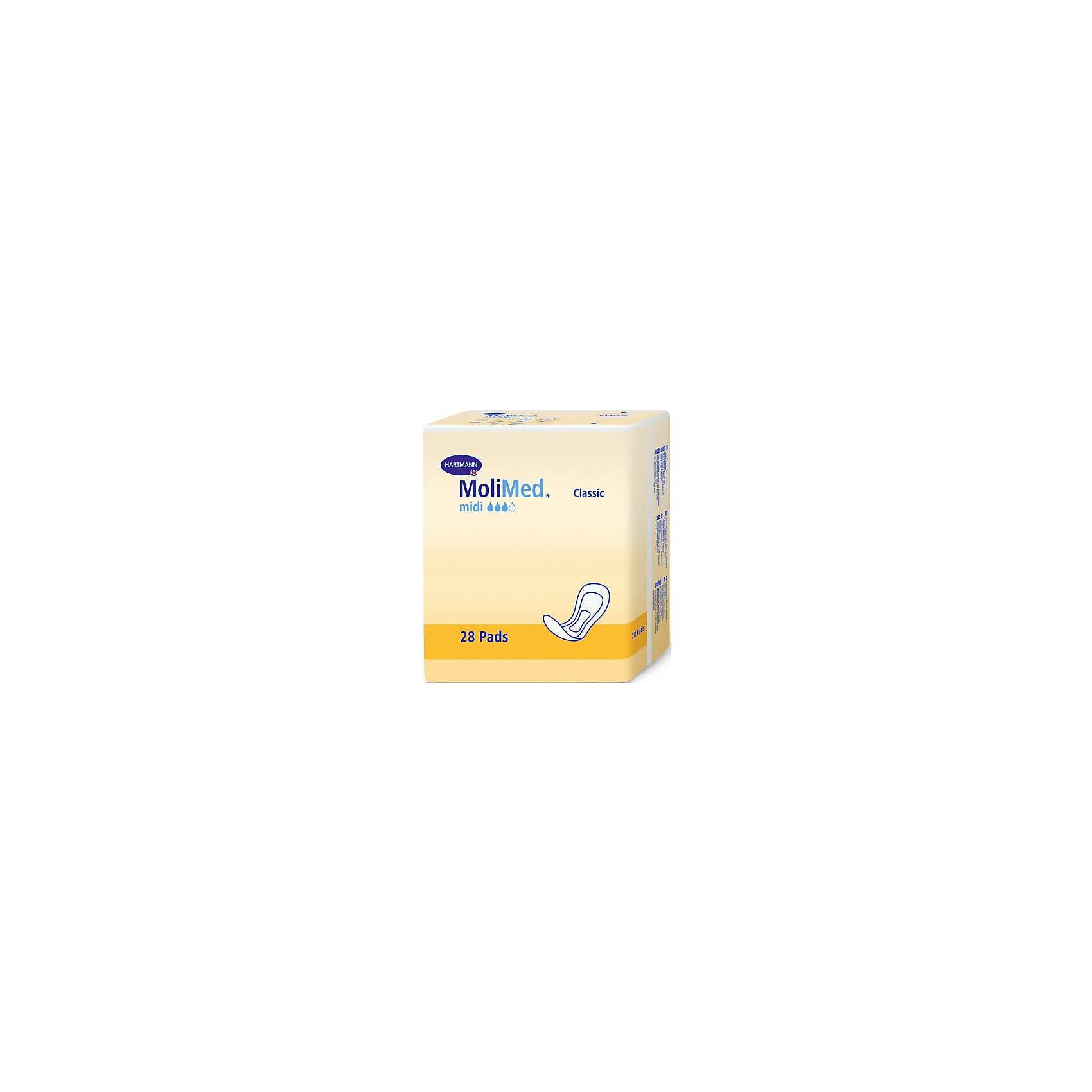 Прокладки MoliMed Classic midi впитываемость 441 мл, 28шт, HartmannСредства для ухода<br>Прокладки анатомической формы, изготовленная из экологически чистого сырья, с трехслойной впитывающей подушкой<br>- Суперабсорбент High Dry SAP, превращающий жидкость в гель, сохраняет кожу сухой, удерживает жидкость и запах внутри<br>- Верхний впитывающий слой на основе закрученной целлюлозы оказывает антибактериальный эффект и поддерживает благоприятный для кожи фактор pH 5,5<br>- Трехслойная впитывающая подушка обеспечивает максимальную впитываемость при минимальной толщине<br>- Широкая клеящая полоска надежно фиксирует прокладку к белью, препятствуя смещению.<br>- Дерматологически протестированы, не раздражают кожу<br><br>Ширина мм: 120<br>Глубина мм: 220<br>Высота мм: 150<br>Вес г: 650<br>Возраст от месяцев: 216<br>Возраст до месяцев: 1188<br>Пол: Унисекс<br>Возраст: Детский<br>SKU: 4796668