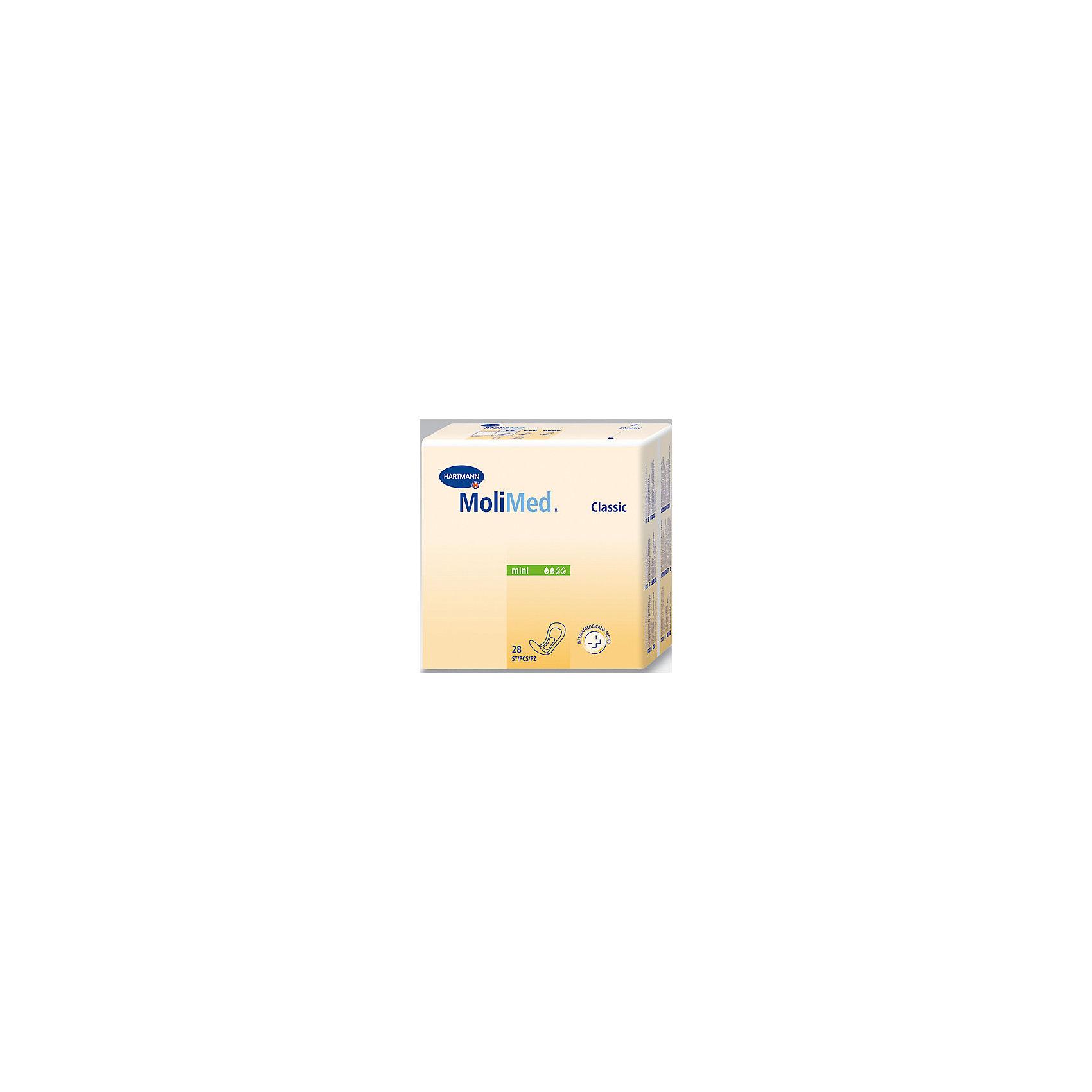 Прокладки MoliMed Classic mini впитываемость 280 мл, 28шт, HartmannСредства для ухода<br>Прокладки анатомической формы, изготовленная из экологически чистого сырья, с трехслойной впитывающей подушкой<br>- Суперабсорбент High Dry SAP, превращающий жидкость в гель, сохраняет кожу сухой, удерживает жидкость и запах внутри<br>- Верхний впитывающий слой на основе закрученной целлюлозы оказывает антибактериальный эффект и поддерживает благоприятный для кожи фактор pH 5,5<br>- Трехслойная впитывающая подушка обеспечивает максимальную впитываемость при минимальной толщине<br>- Широкая клеящая полоска надежно фиксирует прокладку к белью, препятствуя смещению.<br>- Дерматологически протестированы, не раздражают кожу<br><br>Ширина мм: 120<br>Глубина мм: 220<br>Высота мм: 150<br>Вес г: 410<br>Возраст от месяцев: 216<br>Возраст до месяцев: 1188<br>Пол: Унисекс<br>Возраст: Детский<br>SKU: 4796669