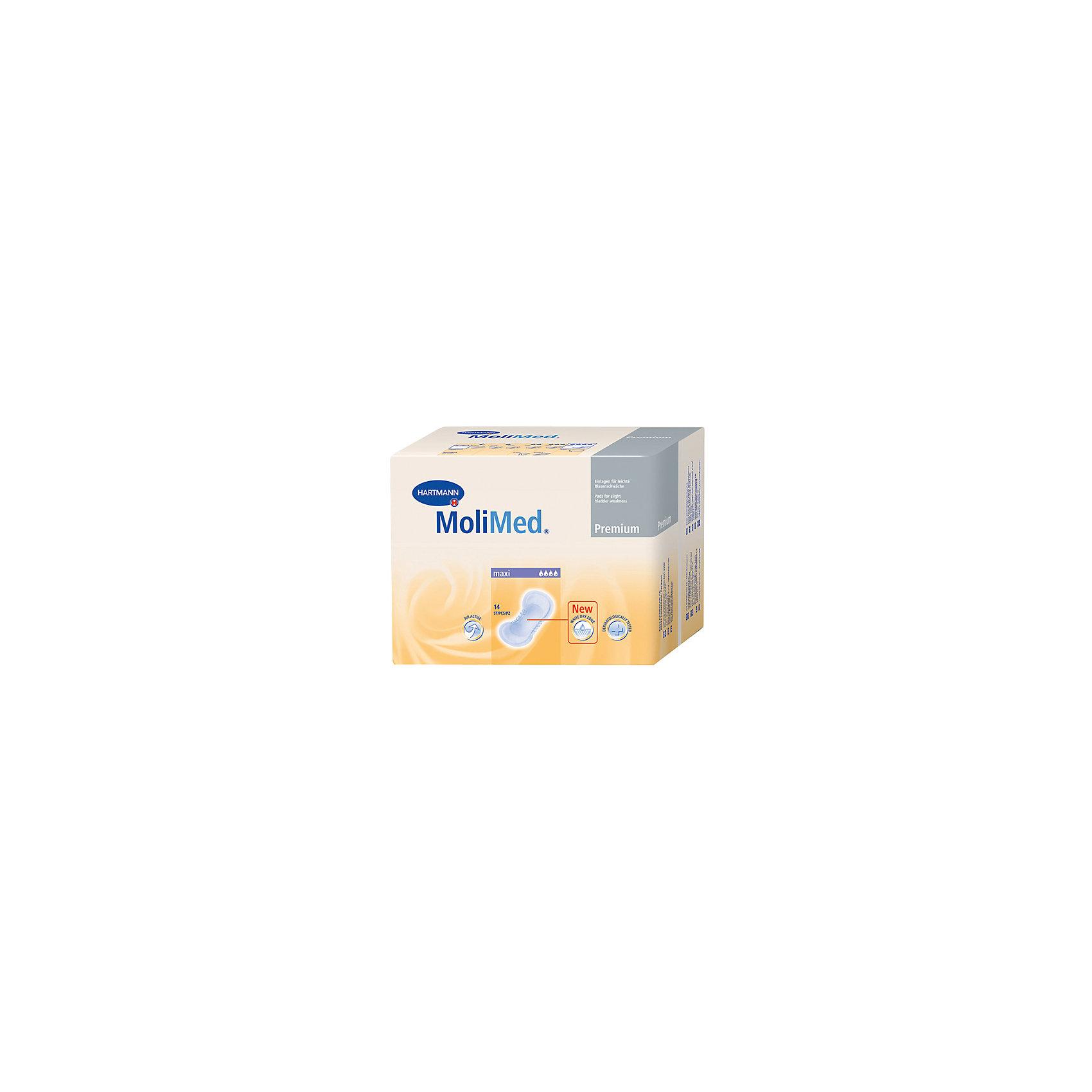 Прокладки MoliMed Premium maxi впитываемость 922 мл. (14шт.), HartmannСредства для ухода<br>Быстро впитывающие прокладки MoliMed (Молимед) Premium имеют ультрасорбционный слой Dry Plus,благодаря которому происходит действие переработки влаги в гель,что обеспечивает сухое состояние коже.Молекула CyDex предотвращает неприятные запахи,в свою очередь эластичные манжеты препятствуют развитию раздражительных процессов,а также противодействуют вытеканию жидкости из прокладок,при этом обеспечивая дыхание коже.Данные прокладки предназначены для применения во время небольших процессов выделения в послеродовой период.<br><br>Ширина мм: 120<br>Глубина мм: 220<br>Высота мм: 150<br>Вес г: 610<br>Возраст от месяцев: 216<br>Возраст до месяцев: 1188<br>Пол: Унисекс<br>Возраст: Детский<br>SKU: 4796672