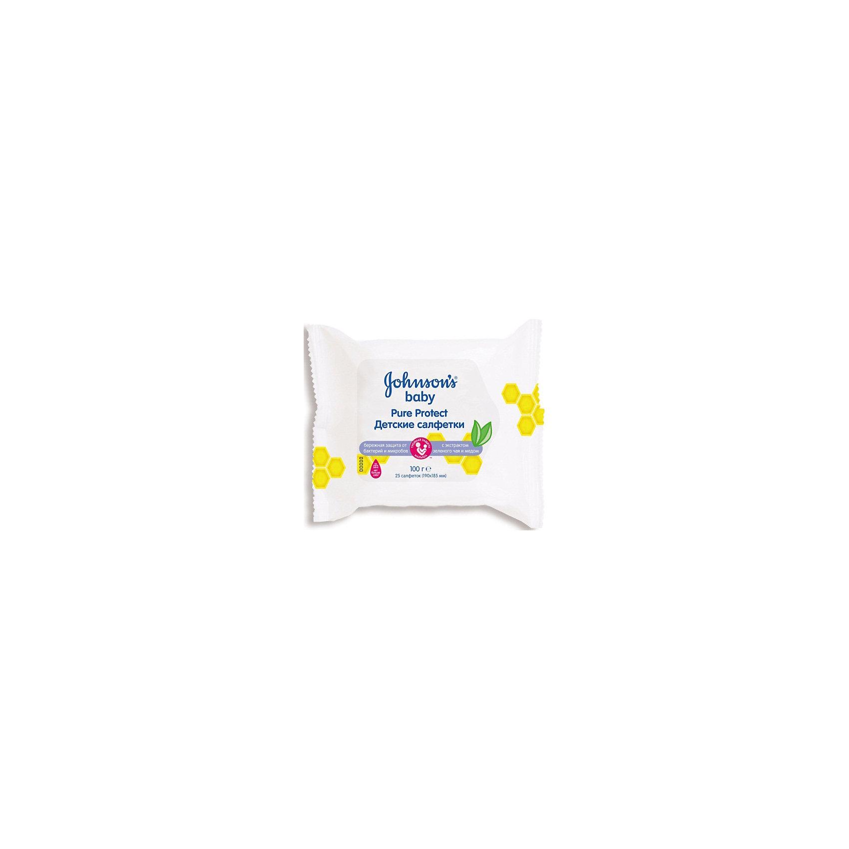 Johnson`s baby Влажные салфетки Pure Protect 25 шт., Johnson`s baby johnson s baby влажные салфетки для самых маленьких 128 шт подарок pure protect влажные салфетки детские 25 шт