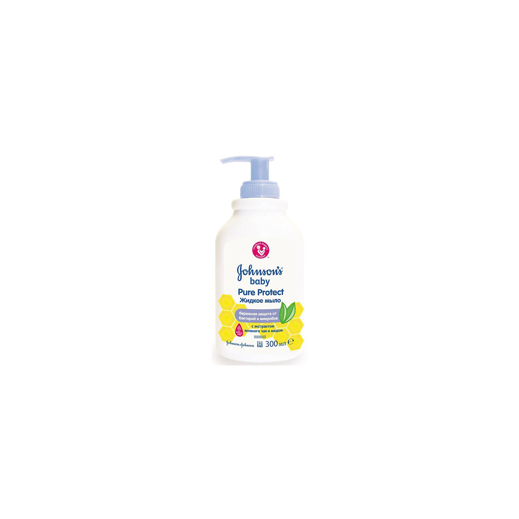"""Жидкое мыло 2 в 1 для мытья рук и тела Pure Protect 300 мл, Johnson`s babyДетское мыло<br>Сочетание именно натуральных ингредиентов (прополис, зеленый чай) очень важно для чувствительной детской кожи. Более того, средства гипоаллергенные и не щиплют глазки""""<br><br>Ширина мм: 55<br>Глубина мм: 70<br>Высота мм: 159<br>Вес г: 317<br>Возраст от месяцев: -2147483648<br>Возраст до месяцев: 2147483647<br>Пол: Унисекс<br>Возраст: Детский<br>SKU: 4796701"""