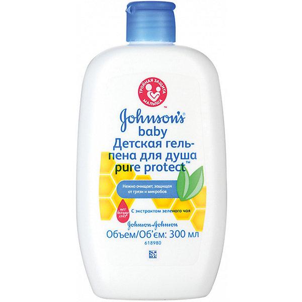 """Детская гель-пена для душа Pure Protect 300 мл, Johnson`s babyГели для купания<br>Сочетание именно натуральных ингредиентов (прополис, зеленый чай) очень важно для чувствительной детской кожи. Более того, средства гипоаллергенные и не щиплют глазки""""<br><br>Ширина мм: 41<br>Глубина мм: 84<br>Высота мм: 162<br>Вес г: 317<br>Возраст от месяцев: -2147483648<br>Возраст до месяцев: 2147483647<br>Пол: Унисекс<br>Возраст: Детский<br>SKU: 4796702"""