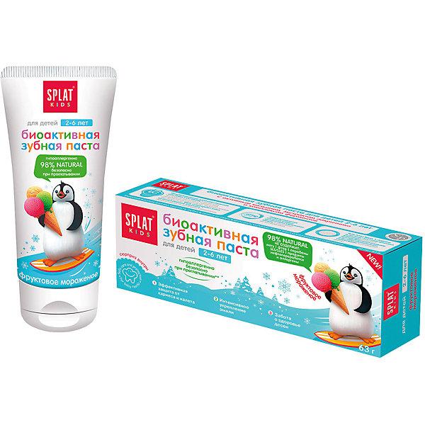 Натуральная зубная паста для детей от 2 до 6 лет, Splat Kids, фруктовое мороженоеДетская зубная паста<br>Эффективная, натуральная и безопасная при проглатывании детская зубная паста для нежной защиты от кариеса и интенсивного укрепления эмали, заботы о здоровье десен. Помогает в игровой форме научить ребенка чистить зубы просто и весело.Инновационная, защищенная патентом система LUCTATOL®, на основе экстракта лакричника и молочных ферментов уничтожает кариесогенные бактерии и блокирует их дальнейшее развитие.<br><br>Ширина мм: 140<br>Глубина мм: 53<br>Высота мм: 40<br>Вес г: 83<br>Возраст от месяцев: 24<br>Возраст до месяцев: 72<br>Пол: Унисекс<br>Возраст: Детский<br>SKU: 4796728