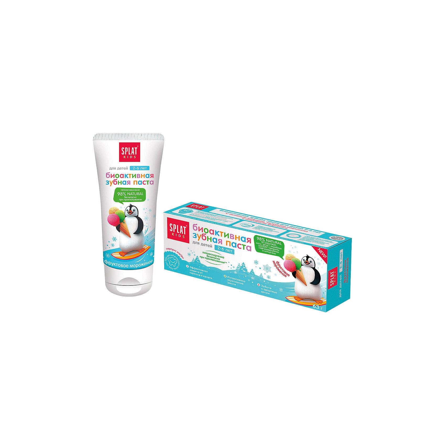 Натуральная зубная паста для детей от 2 до 6 лет, Splat Kids, фруктовое мороженоеЭффективная, натуральная и безопасная при проглатывании детская зубная паста для нежной защиты от кариеса и интенсивного укрепления эмали, заботы о здоровье десен. Помогает в игровой форме научить ребенка чистить зубы просто и весело.Инновационная, защищенная патентом система LUCTATOL®, на основе экстракта лакричника и молочных ферментов уничтожает кариесогенные бактерии и блокирует их дальнейшее развитие.<br><br>Ширина мм: 140<br>Глубина мм: 53<br>Высота мм: 40<br>Вес г: 83<br>Возраст от месяцев: 24<br>Возраст до месяцев: 72<br>Пол: Унисекс<br>Возраст: Детский<br>SKU: 4796728
