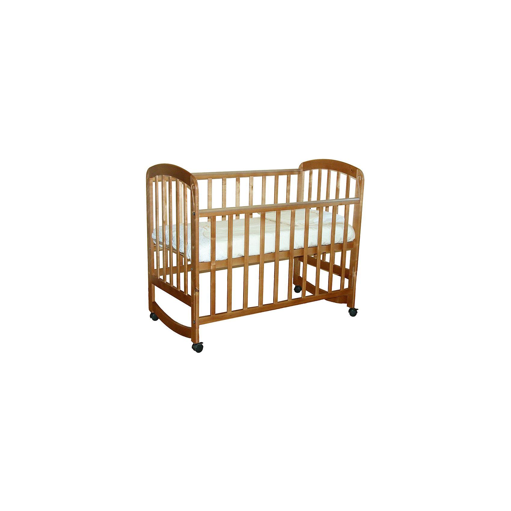 Кроватка 304, Фея, медовыйКроватки<br>Кроватка Фея подарит малышам комфортный отдых и сладкий сон с первых дней жизни. Кроватка изготовлена из высококачественных экологичных, безопасных для детей материалов, она вместительная и прочная, поэтому прослужит вам и вашему малышу очень долго. Реечное дно модели регулируется в двух положениях - когда ваш кроха подрастет, опустите ложе и не беспокойтесь о том, что юный непоседа сможет самостоятельно выбраться из своего гнездышка.  Благодаря специальному механизму, боковая стенка кровати быстро и легко опускается даже одной рукой. Кровать имеет колесики, с помощью которых ее удобно перемещать по комнате, при желании колеса можно снять, преобразовав кровать в качалку. <br><br>Дополнительная информация:<br><br>- Материал: дерево (массив березы).<br>- Размеры: 124,5х67,5х105 см.<br>- Для матраса размером: 120x60 см.<br>- Ложе регулируется в 2-х положениях.<br>- Передняя стенка опускается. <br>- Дно: реечное.<br>- Стенки: реечные. <br>- Съемные колеса.<br>- Качалка. <br>- Накладки из ПВХ. <br><br>Кроватку 304, Фея, медовую, можно купить в нашем магазине.<br><br>Ширина мм: 1005<br>Глубина мм: 1248<br>Высота мм: 675<br>Вес г: 17700<br>Возраст от месяцев: 0<br>Возраст до месяцев: 36<br>Пол: Унисекс<br>Возраст: Детский<br>SKU: 4796973