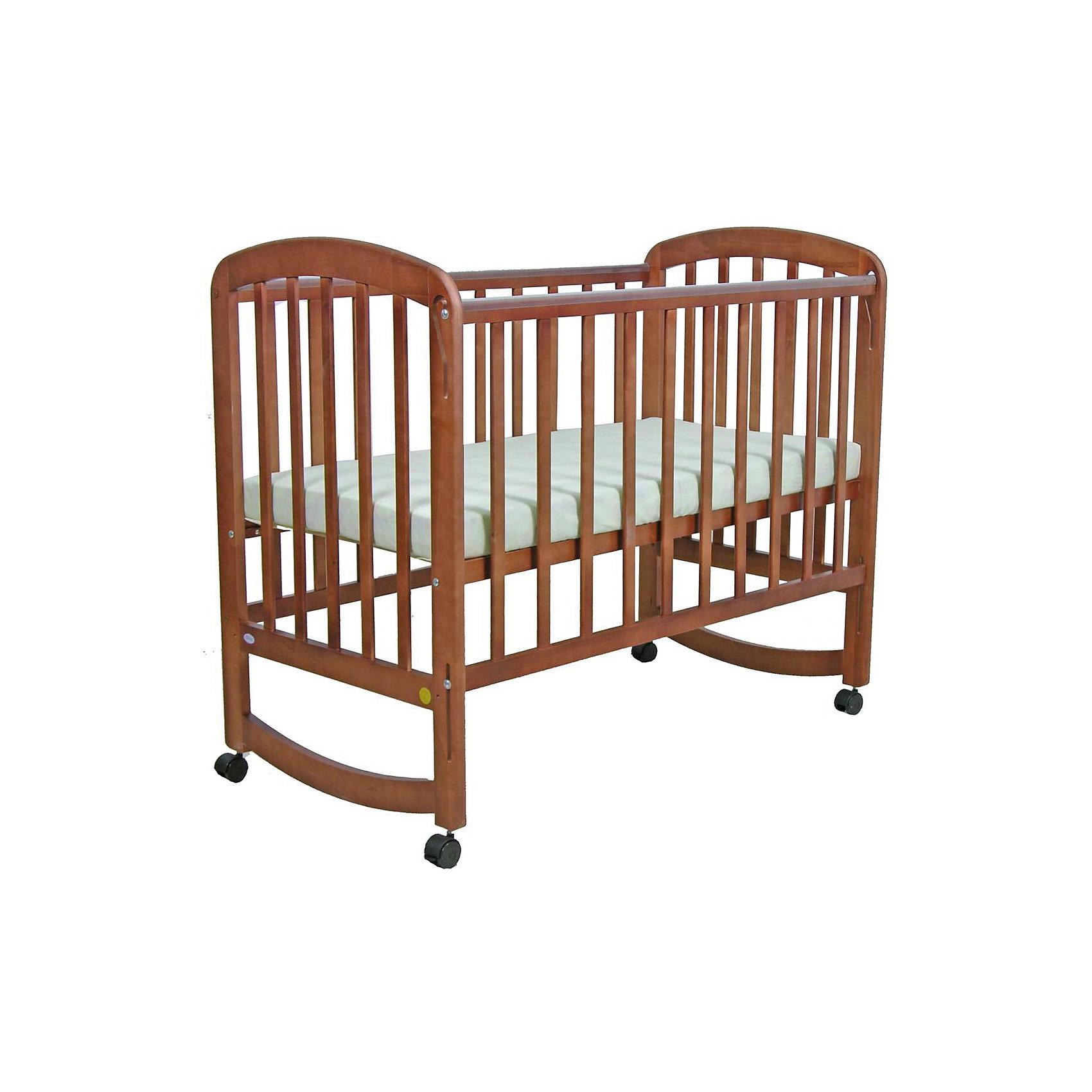 Кроватка 304, Фея, орехКроватки<br>Кроватка Фея подарит малышам комфортный отдых и сладкий сон с первых дней жизни. Кроватка изготовлена из высококачественных экологичных, безопасных для детей материалов, она вместительная и прочная, поэтому прослужит вам и вашему малышу очень долго. Реечное дно модели регулируется в двух положениях - когда ваш кроха подрастет, опустите ложе и не беспокойтесь о том, что юный непоседа сможет самостоятельно выбраться из своего гнездышка.  Благодаря специальному механизму, боковая стенка кровати быстро и легко опускается даже одной рукой. Кровать имеет колесики, с помощью которых ее удобно перемещать по комнате, при желании колеса можно снять, преобразовав кровать в качалку. <br><br>Дополнительная информация:<br><br>- Материал: дерево (массив березы).<br>- Размеры: 124,5х67,5х105 см.<br>- Для матраса размером: 120x60 см.<br>- Ложе регулируется в 2-х положениях.<br>- Передняя стенка опускается. <br>- Дно: реечное.<br>- Стенки: реечные. <br>- Съемные колеса.<br>- Качалка. <br>- Накладки из ПВХ. <br><br>Кроватку 304, Фея, орех, можно купить в нашем магазине.<br><br>Ширина мм: 1005<br>Глубина мм: 1248<br>Высота мм: 675<br>Вес г: 17700<br>Возраст от месяцев: 0<br>Возраст до месяцев: 36<br>Пол: Унисекс<br>Возраст: Детский<br>SKU: 4796975
