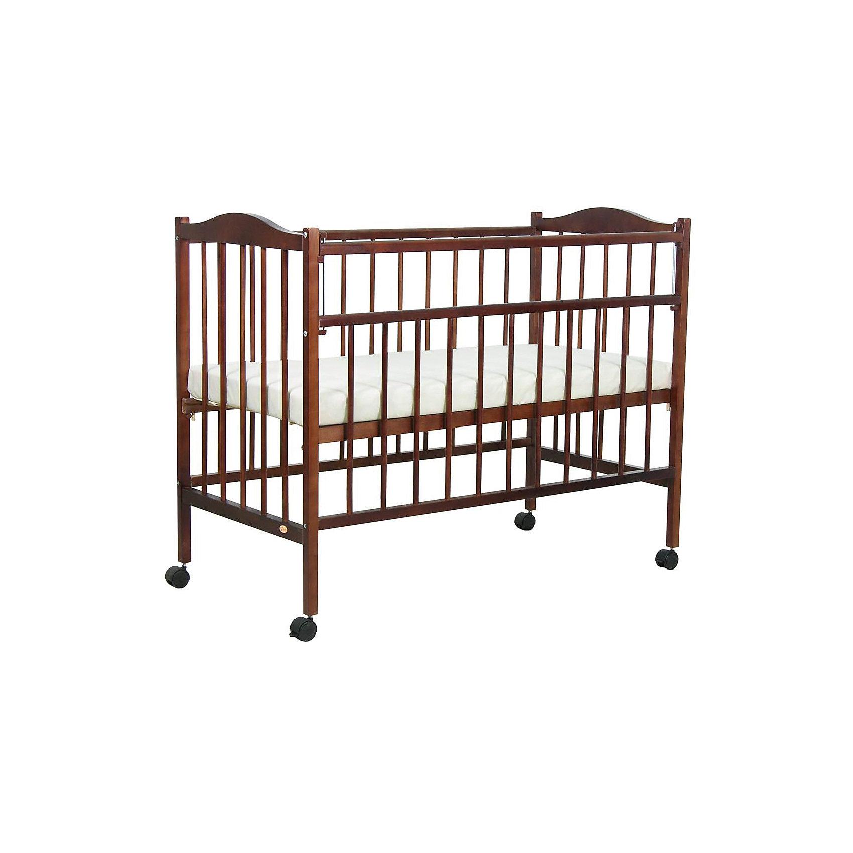Кроватка 203, Фея, орехКроватки<br>Кроватка Фея подарит малышам комфортный отдых и сладкий сон с первых дней жизни. Кроватка изготовлена из высококачественных экологичных, безопасных для детей материалов, она вместительная и прочная, поэтому прослужит вам и вашему малышу очень долго. Реечное дно модели регулируется в двух положениях - когда ваш кроха подрастет, опустите ложе и не беспокойтесь о том, что юный непоседа сможет самостоятельно выбраться из своего гнездышка.  Благодаря специальному механизму Ушко, боковая стенка кровати быстро и легко опускается. Кровать имеет колесики, с помощью которых ее удобно перемещать по комнате.<br><br>Дополнительная информация:<br><br>- Материал: дерево (массив березы).<br>- Размеры: 126х70х101 см. <br>- Для матраса размером: 120x60 см.<br>- Ложе регулируется в 2-х положениях.<br>- Передняя стенка опускается. <br>- Дно: реечное.<br>- Стенки: реечные. <br>- Колеса. <br><br>Кроватку 203, Фея, орех, можно купить в нашем магазине.<br><br>Ширина мм: 1010<br>Глубина мм: 1260<br>Высота мм: 660<br>Вес г: 14350<br>Возраст от месяцев: 0<br>Возраст до месяцев: 36<br>Пол: Унисекс<br>Возраст: Детский<br>SKU: 4796976