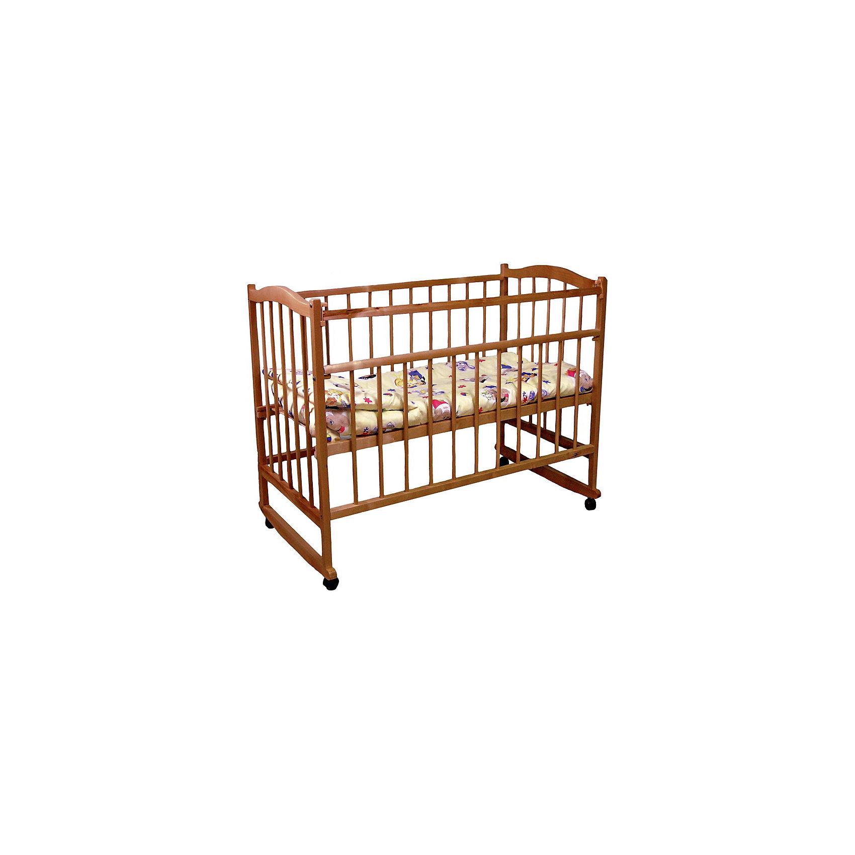Кроватка 204, Фея, орехКроватки<br>Кроватка Фея подарит малышам комфортный отдых и сладкий сон с первых дней жизни. Кроватка изготовлена из высококачественных экологичных, безопасных для детей материалов, она вместительная и прочная, поэтому прослужит вам и вашему малышу очень долго. Реечное дно модели регулируется в двух положениях - когда ваш кроха подрастет, опустите ложе и не беспокойтесь о том, что юный непоседа сможет самостоятельно выбраться из своего гнездышка.  Благодаря специальному механизму Ушко, боковая стенка кровати быстро и легко опускается. Кровать имеет колесики, с помощью которых ее удобно перемещать по комнате, при желании колеса можно снять, преобразовав кровать в качалку. <br><br>Дополнительная информация:<br><br>- Материал: дерево (массив березы).<br>- Размеры: 126х70х101 см. <br>- Для матраса размером: 120x60 см.<br>- Ложе регулируется в 2-х положениях.<br>- Передняя стенка опускается. <br>- Дно: реечное.<br>- Стенки: реечные. <br>- Съемные колеса.<br>- Качалка. <br><br>Кроватку 204, Фея, орех, можно купить в нашем магазине.<br><br>Ширина мм: 1000<br>Глубина мм: 1260<br>Высота мм: 730<br>Вес г: 16150<br>Возраст от месяцев: 0<br>Возраст до месяцев: 36<br>Пол: Унисекс<br>Возраст: Детский<br>SKU: 4796977