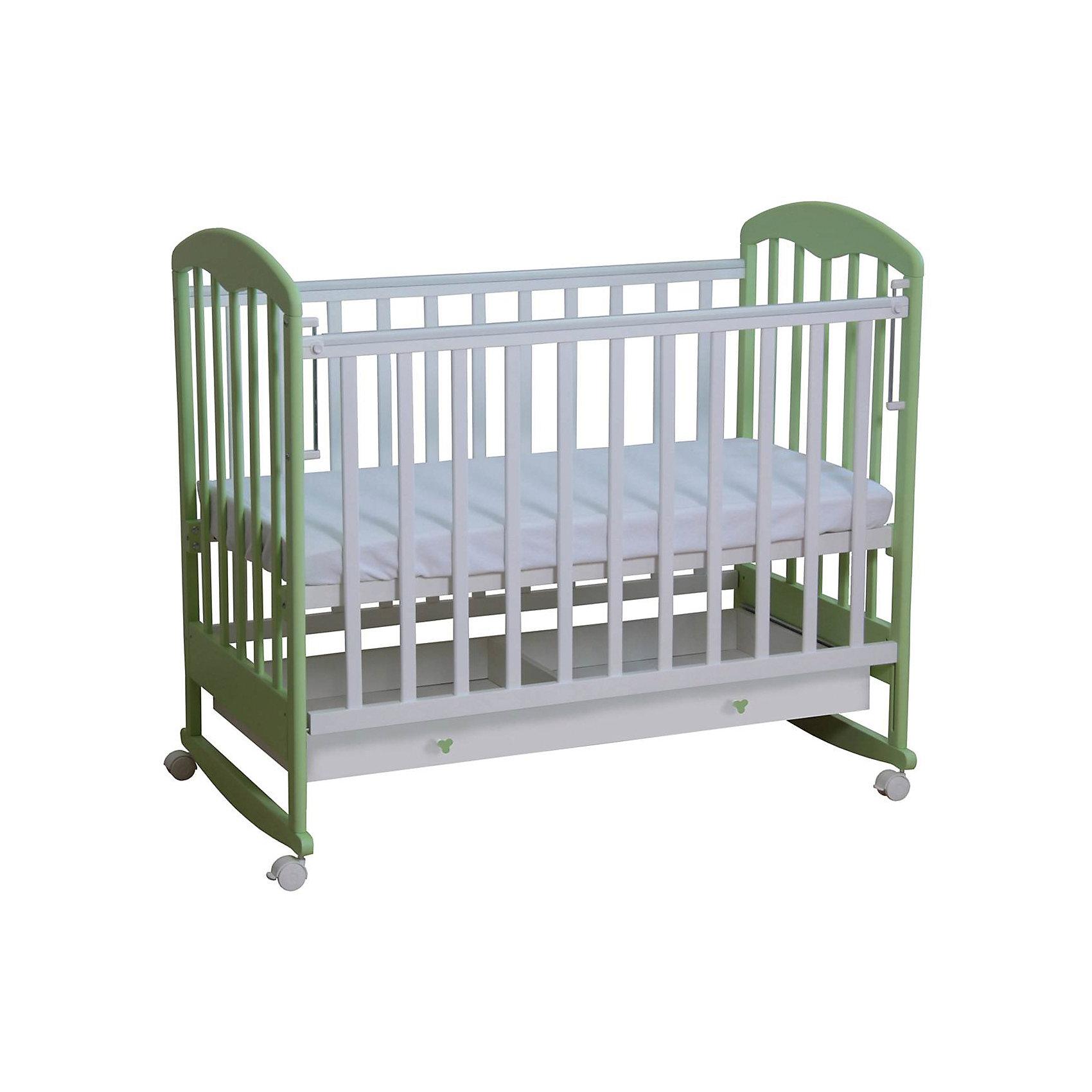 Кроватка 325, Фея, белый-мята  бочка тумбочка