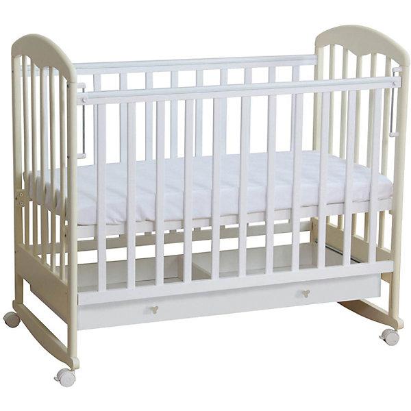 Кроватка 325, Фея, белый-ванильДетские кроватки<br>Кровать Фея - прекрасный вариант для малышей и их родителей. Модель имеет классический дизайн, дополненный практичным выдвижным ящиком внизу. Высота ложа регулируется в двух положениях - когда ваш кроха подрастет, опустите дно кровати и не беспокойтесь о том, что юный непоседа сможет самостоятельно выбраться из своего гнездышка. Модель имеет колесики, с помощью которых ее удобно перемещать по комнате, при желании колеса можно снять, преобразовав кровать в качалку. При помощи специального механизма передняя стенка легко и быстро опускается даже одной рукой. <br>Кровать выполнена из натурального массива березы, с использованием абсолютно безопасных и нетоксичных для детей материалов. <br><br>Дополнительная информация:<br><br>- Материал: дерево (массив березы).<br>- Размеры: 124,8х75х103,7 см.<br>- Для матраса размером: 60 х 120 см.<br>- Ложе регулируется в 2-х положениях.<br>- Передняя стенка опускается (механизм Кнопка).<br>- Накладки из ПВХ.<br>- Ортопедическое основание.<br>- Реечные стенки.<br>- Практичный выдвижной ящик внизу. <br>- Съемные колеса.<br>- Качалка. <br><br>Кроватку 325, Фея, белую-ваниль, можно купить в нашем магазине.<br>Ширина мм: 1120; Глубина мм: 1248; Высота мм: 744; Вес г: 23900; Возраст от месяцев: 0; Возраст до месяцев: 36; Пол: Унисекс; Возраст: Детский; SKU: 4796985;