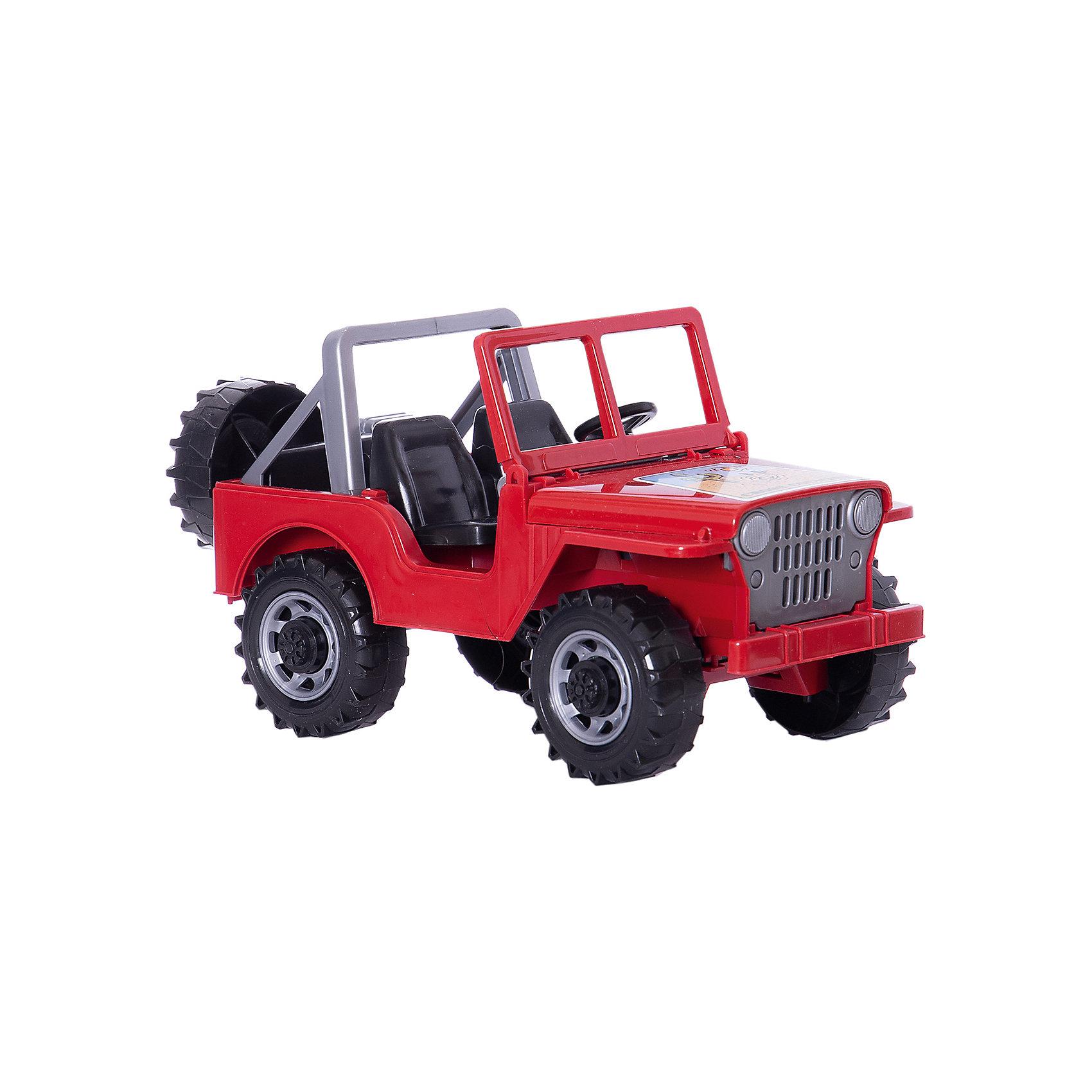Bruder Джип Jeep, красныйМашинки<br>Bruder Джип Jeep, красный (Брудер) ? эта машинка из серии TOP PROFI SERIES представляет собой<br>копию джипа Land Rover Defender без крыши, выполненную в масштабе 1:16. Модель выполнена из высокопрочного пластика яркой расцветки, устойчивой к изменению цвета во время эксплуатации. Все элементы и детали джипа полностью соответствуют своему реальному прототипу: открытая кабина, открывающийся капот и опускающееся лобовое стекло. При вращении руля передние колеса поворачиваются. Кроме того, имеются все атрибуты для того, чтобы совершить длительное путешествие: имеется запасное колесо и канистра для бензина. Колеса, как у настоящего джипа, обладают высокой проходимостью за счет большого размера и крупного рисунка на протекторах шин.<br>Bruder Джип Jeep, красный (Брудер) доставит настоящее удовольствие во время игры маленьким автолюбителям.<br>Джип Брудер ? идеальное решение для подарка мальчику к любому празднику или торжеству. <br><br>Дополнительная информация:<br><br>- Вид игр: сюжетно-ролевые игры <br>- Предназначение: для дома, для улицы<br>- Материал: пластик<br>- Размер (ДхШхВ): 27*18*14 см<br>- Вес: 500 г<br>- Масштаб: 1:16<br>- Комплектация: канистра, запасное колесо<br>- Особенности ухода: разрешается мыть<br><br>Подробнее:<br><br>• Для детей в возрасте: от 3 лет и до 7 лет<br>• Страна производитель: Германия<br>• Торговый бренд: Bruder<br><br>Bruder Джип Jeep, красный (Брудер) можно купить в нашем интернет-магазине.<br><br>Ширина мм: 270<br>Глубина мм: 180<br>Высота мм: 140<br>Вес г: 500<br>Возраст от месяцев: 36<br>Возраст до месяцев: 84<br>Пол: Мужской<br>Возраст: Детский<br>SKU: 4797136