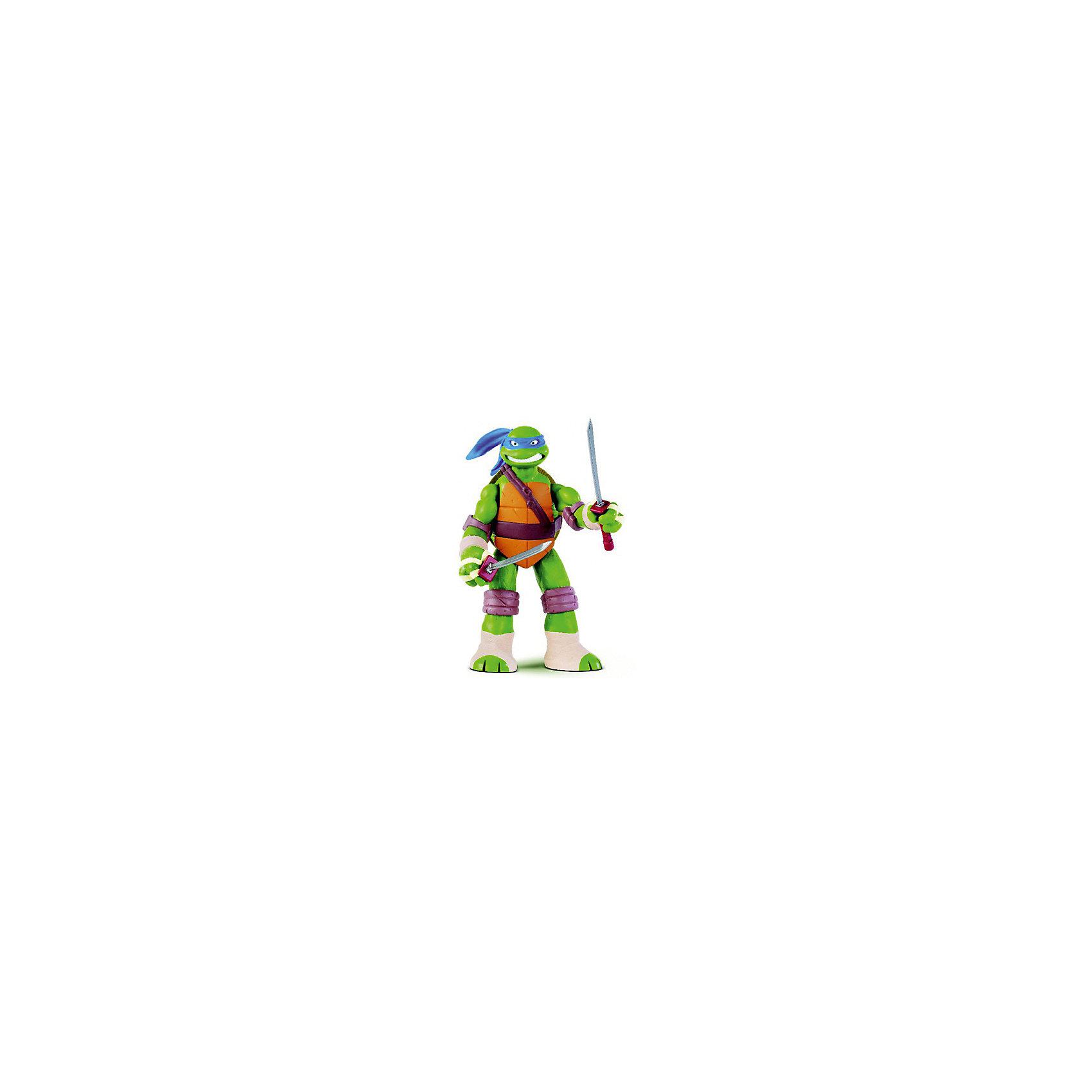 Фигурка Леонардо, 28см, Черепашки НиндзяКоллекционные и игровые фигурки<br>Фигурка Леонардо, 28 см, Черепашки Ниндзя.  Playmates представляет новых героев серии Movie Line ? черепашки Ниндзя. Полная серия черепашек Ниндзя состоит из четырех героев: Леонардо,  Донателло, Рафаэль и Микеланджело. Леонардо ? один из героев фильмов Teenage Mutant Ninja Turtles, обожаемых всеми мальчишками. Леонардо согласно сюжету фильма является неформальным лидером, уравновешенный, рассудительный, отчего иногда его считают занудой. Он одновременно умеет владеть двумя катанами, носит синюю повязку. Фигурка выполнена из качественного прочного пластика, устойчивого к повреждениям, имеет удобный размер (28 см). У черепашки Леонардо подвижные руки и ноги и суставы, у него сзади имеется открывающийся панцирь, который предназначен для хранения метательных звезд-сюрикенов.<br>Данная игрушка способствует формирует коммуникативных навыков, развивает воображение и память. Играя с этими героями, ваш ребенок приобретает навыки социального общения и отрабатывает эффективные методы взаимодействия с другими детьми.<br><br>Дополнительная информация:<br><br>- Вид игр: сюжетно-ролевые игры <br>- Предназначение: для дома, для улицы<br>- Материал: качественный пластик<br>- Размер (ДхШхВ): 28*8,5*33 мм<br>- Вес: 385 г<br>- Комплектация: дополнительное оружие<br>- Особенности ухода: разрешается мыть<br><br>Подробнее:<br><br>• Для детей в возрасте: от 4 лет и до 11 лет<br>• Страна производитель: Китай<br>• Торговый бренд: Playmates <br><br>Фигурку Леонардо, 28 см, Черепашки Ниндзя можно купить в нашем интернет-магазине.<br><br>Ширина мм: 280<br>Глубина мм: 85<br>Высота мм: 330<br>Вес г: 385<br>Возраст от месяцев: 48<br>Возраст до месяцев: 132<br>Пол: Мужской<br>Возраст: Детский<br>SKU: 4797138