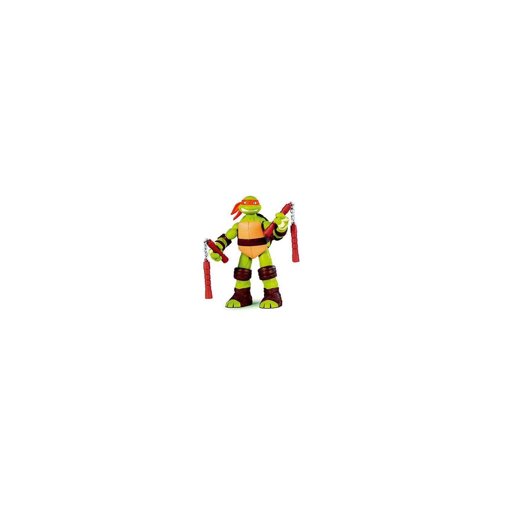 Фигурка Микеланджело, 28см, Черепашки НиндзяФигурки из мультфильмов<br>Фигурка Микеланджело, 28 см, Черепашки Ниндзя.  Playmates представляет новых героев серии Movie Line ? черепашки Ниндзя. Полная серия черепашек Ниндзя состоит из четырех героев: Леонардо,  Донателло, Рафаэль и Микеланджело. Микеланджело ? один из героев фильмов Teenage Mutant Ninja Turtles, обожаемых всеми мальчишками. Согласно сюжету фильма Микеланджело самый веселый персонаж, обладает чувством юмора и добрым сердцем, носит оранжевую повязку. Его любимое оружие ? нунчаки. Фигурка выполнена из качественного прочного пластика, устойчивого к повреждениям, имеет удобный размер (28 см). У черепашки Микеланджело подвижные руки и ноги и суставы, сзади у него имеется открывающийся панцирь, который предназначен для хранения дополнительного оружия и аксессуаров.<br>Данная игрушка способствует формирует коммуникативных навыков, развивает воображение и память. Играя с этими героями, ваш ребенок приобретает навыки социального общения и отрабатывает эффективные методы взаимодействия с другими детьми.<br><br>Дополнительная информация:<br><br>- Вид игр: сюжетно-ролевые игры <br>- Предназначение: для дома, для улицы<br>- Материал: качественный пластик<br>- Размер (ДхШхВ): 28*8,5*33 см<br>- Вес: 385 г<br>- Комплектация: дополнительное оружие<br>- Особенности ухода: разрешается мыть<br><br>Подробнее:<br><br>• Для детей в возрасте: от 4 лет и до 11 лет<br>• Страна производитель: Китай<br>• Торговый бренд: Playmates <br><br>Фигурку Микеланджело, 28 см, Черепашки Ниндзя можно купить в нашем интернет-магазине.<br><br>Ширина мм: 280<br>Глубина мм: 85<br>Высота мм: 330<br>Вес г: 385<br>Возраст от месяцев: 48<br>Возраст до месяцев: 132<br>Пол: Мужской<br>Возраст: Детский<br>SKU: 4797139