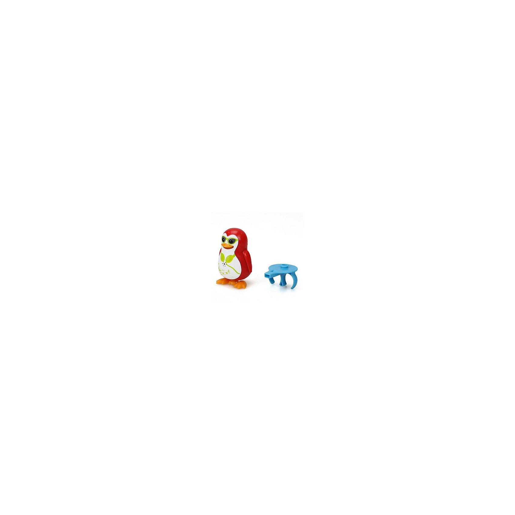 Поющий пингвин с кольцом, красный, DigiBirdsРобокар Поли<br>Поющий пингвин с кольцом, красный, DigiBirds, Silverlit (Сильверлит) ? интерактивная птичка от мирового производителя детских товаров Silverlit (Сильверлит). Очаровательный пингвин световыми и звуковыми эффектами. Его творческий репертуар состоит из 55 песенок, которые исполняются как в сольном виде, так и в хоровом. Имея столь разнообразный репертуар, эта игрушка вряд ли быстро наскучит вашему ребенку. Активируется игрушка тремя способами: на нее достаточно подуть или посвистеть в свисток, который идет в комплекте, или резко взмахнуть по воздуху, держа птичку в руке. Кроме того, пингвин умеет танцевать: в такт музыке машет крыльями, покачивает корпусом, поворачивает головой и ракрывает клюв. Кроме того, каждый пингвин наделен своим уникальным движением.<br>Поющий пингвин с кольцом, красный, DigiBirds, Silverlit (Сильверлит) ? совершенно уникальная игрушка, которая не только развлекает вашего ребенка, но и занимается его музыкальным развитием. В первую очередь, она способствует формированию музыкального слуха и памяти. Простые действия: подуть в свисток, подуть на пингвина ? простые, но очень эффективные упражнения, которые направлены на развитие речевого аппарата.<br>Поющий пингвин с кольцом, красный, DigiBirds, Silverlit (Сильверлит) ? это миниатюрный музыкальный центр для вашего ребенка. <br><br>Дополнительная информация:<br><br>- Вид игр: сюжетно-ролевые игры <br>- Предназначение: для дома<br>Дополнительные функции: синхронизация со всеми персонажами DigiFriends<br>- Батарейки: 3 шт. LR44<br>- Материал: высококачественный пластик<br>- Размер (ДхШхВ): 6,4*15,2*10,2 см<br>- Вес: 91 г<br>- Комплектация: пингвин, свисток-кольцо для птички, инструкция, батарейки<br>- Особенности ухода: протирать влажной губкой<br><br>ВНИМАНИЕ! Данный артикул имеется в наличии в разных цветовых исполнениях (синий, фиолетовый, красный, черный, зеленый, желтый). К сожалению, заранее выбрать определенный цвет невозможно. <br><br