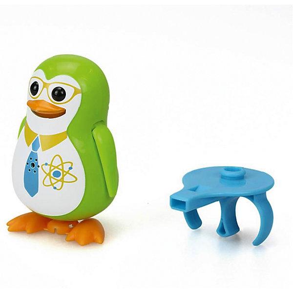 Поющий пингвин с кольцом, зеленый, DigiBirdsИнтерактивные животные<br>Поющий пингвин с кольцом, зеленый, DigiBirds, Silverlit (Сильверлит) ? интерактивная птичка от мирового производителя детских товаров Silverlit (Сильверлит). Очаровательный пингвин световыми и звуковыми эффектами. Его творческий репертуар состоит из 55 песенок, которые исполняются как в сольном виде, так и в хоровом. Имея столь разнообразный репертуар, эта игрушка вряд ли быстро наскучит вашему ребенку. Активируется игрушка тремя способами: на нее достаточно подуть или посвистеть в свисток, который идет в комплекте, или резко взмахнуть по воздуху, держа птичку в руке. Кроме того, пингвин умеет танцевать: в такт музыке машет крыльями, покачивает корпусом, поворачивает головой и ракрывает клюв. Кроме того, каждый пингвин наделен своим уникальным движением.<br>Поющий пингвин с кольцом, зеленый, DigiBirds, Silverlit (Сильверлит) ? совершенно уникальная игрушка, которая не только развлекает вашего ребенка, но и занимается его музыкальным развитием. В первую очередь, она способствует формированию музыкального слуха и памяти. Простые действия: подуть в свисток, подуть на пингвина ? простые, но очень эффективные упражнения, которые направлены на развитие речевого аппарата.<br>Поющий пингвин с кольцом, зеленый, DigiBirds, Silverlit (Сильверлит) ? это миниатюрный музыкальный центр для вашего ребенка. <br><br>Дополнительная информация:<br><br>- Вид игр: сюжетно-ролевые игры <br>- Предназначение: для дома<br>Дополнительные функции: синхронизация со всеми персонажами DigiFriends<br>- Батарейки: 3 шт. LR44<br>- Материал: высококачественный пластик<br>- Размер (ДхШхВ): 6,4*15,2*10,2 см<br>- Вес: 91 г<br>- Комплектация: пингвин, свисток-кольцо для птички, инструкция, батарейки<br>- Особенности ухода: протирать влажной губкой<br><br>ВНИМАНИЕ! Данный артикул имеется в наличии в разных цветовых исполнениях (синий, фиолетовый, красный, черный, зеленый, желтый). К сожалению, заранее выбрать определенный цвет невозможн