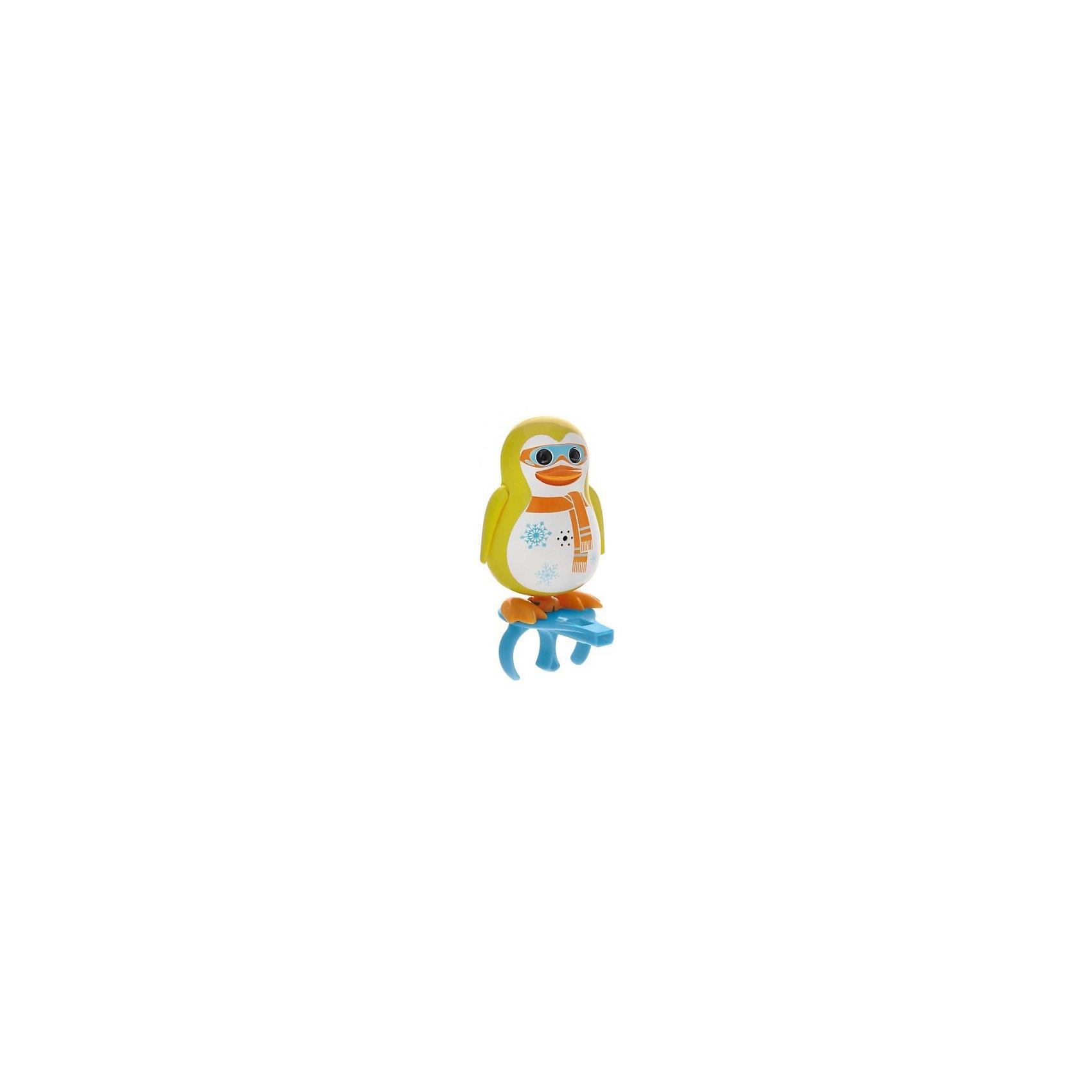 Поющий пингвин с кольцом, желтый, DigiBirdsПоющий пингвин с кольцом, желтый, DigiBirds, Silverlit (Сильверлит) ? интерактивная птичка от мирового производителя детских товаров Silverlit (Сильверлит). Очаровательный пингвин световыми и звуковыми эффектами. Его творческий репертуар состоит из 55 песенок, которые исполняются как в сольном виде, так и в хоровом. Имея столь разнообразный репертуар, эта игрушка вряд ли быстро наскучит вашему ребенку. Активируется игрушка тремя способами: на нее достаточно подуть или посвистеть в свисток, который идет в комплекте, или резко взмахнуть по воздуху, держа птичку в руке. Кроме того, пингвин умеет танцевать: в такт музыке машет крыльями, покачивает корпусом, поворачивает головой и ракрывает клюв. Кроме того, каждый пингвин наделен своим уникальным движением.<br>Поющий пингвин с кольцом, желтый, DigiBirds, Silverlit (Сильверлит) ? совершенно уникальная игрушка, которая не только развлекает вашего ребенка, но и занимается его музыкальным развитием. В первую очередь, она способствует формированию музыкального слуха и памяти. Простые действия: подуть в свисток, подуть на пингвина ? простые, но очень эффективные упражнения, которые направлены на развитие речевого аппарата.<br>Поющий пингвин с кольцом, желтый, DigiBirds, Silverlit (Сильверлит) ? это миниатюрный музыкальный центр для вашего ребенка. <br><br>Дополнительная информация:<br><br>- Вид игр: сюжетно-ролевые игры <br>- Предназначение: для дома<br>Дополнительные функции: синхронизация со всеми персонажами DigiFriends<br>- Батарейки: 3 шт. LR44<br>- Материал: высококачественный пластик<br>- Размер (ДхШхВ): 6,4*15,2*10,2 см<br>- Вес: 91 г<br>- Комплектация: пингвин, свисток-кольцо для птички, инструкция, батарейки<br>- Особенности ухода: протирать влажной губкой<br><br>ВНИМАНИЕ! Данный артикул имеется в наличии в разных цветовых исполнениях (синий, фиолетовый, красный, черный, зеленый, желтый). К сожалению, заранее выбрать определенный цвет невозможно. <br><br>Подробнее:<br><br>•