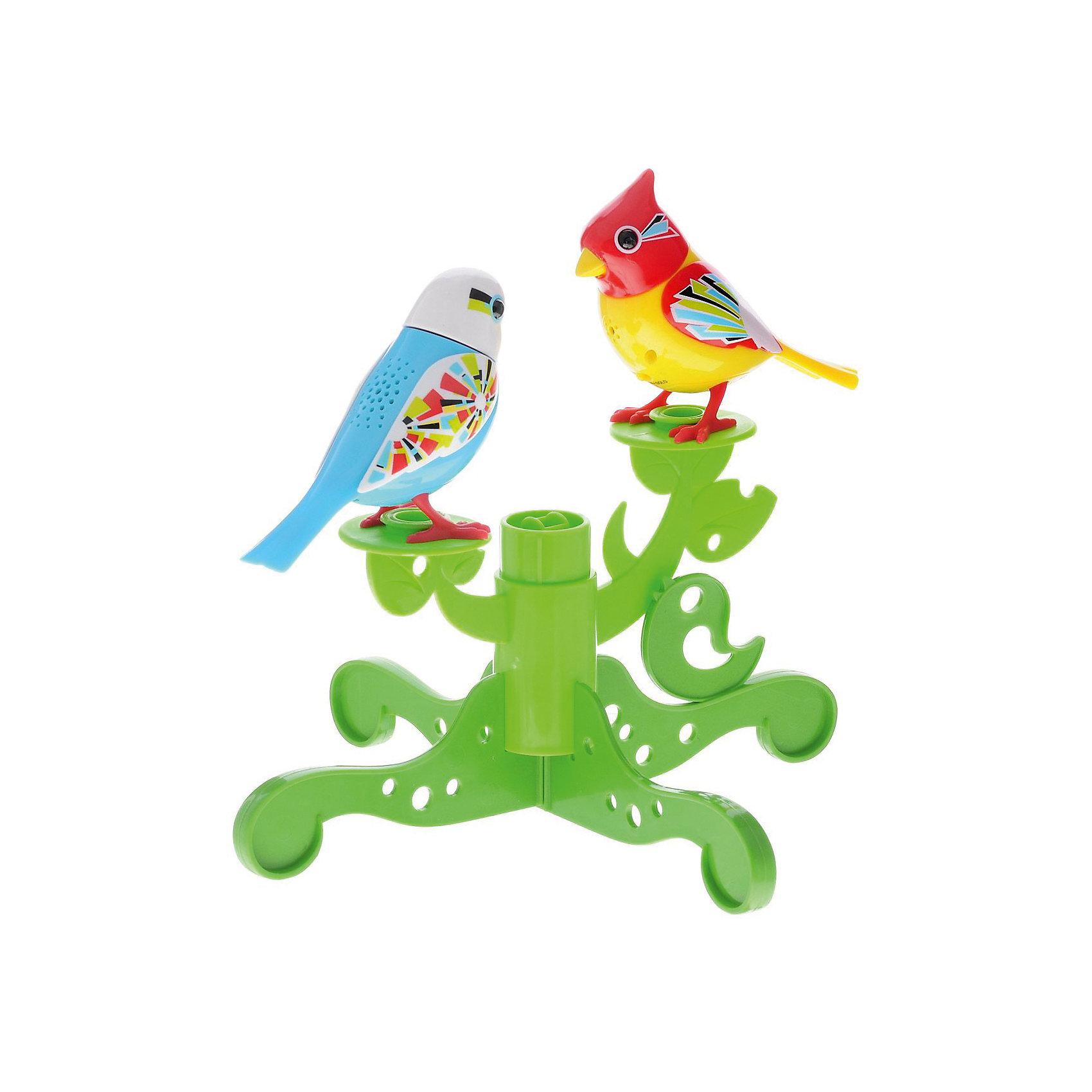 Две птички с деревом, DigiBirdsИнтерактивные животные<br>Две птички с деревом, желтые, DigiBirds, Silverlit (Сильверлит) ? интерактивный комплект от мирового производителя детских товаров Silverlit (Сильверлит). Птички располагаются на ветвят деревьев. Их творческий репертуар состоит из 55 песенок, которые исполняются как в сольном виде, так и в хоровом, они не только поют заученные песенки, но и способны разучивать новые. Птички выполнены из высокопрочного пластика ярких расцветок. Активируется птички тремя способами: достаточно подуть или посвистеть в свисток, который идет в комплекте, или резко взмахнуть по воздуху, держа птичек в руках. <br>Две птички с деревом, желтые, DigiBirds, Silverlit (Сильверлит)  ? совершенно уникальная игрушка, которая не только развлекает вашего ребенка, но и занимается его музыкальным развитием. В первую очередь, она способствует формированию музыкального слуха и памяти. Простые действия: подуть в свисток, подуть на сову ? простые, но очень эффективные упражнения, которые направлены на развитие речевого аппарата.<br>Две птички с деревом, желтые, DigiBirds, Silverlit (Сильверлит) ? это не только миниатюрный музыкальный центр для вашего ребенка, но и оригинальный предмет интерьера.<br><br>Дополнительная информация:<br><br>- Вид игр: сюжетно-ролевые игры <br>- Предназначение: для дома<br>- Дополнительные функции: синхронизация со всеми персонажами DigiFriends; совместимость с другими наборами птичек с деревом<br>- Батарейки: 3 шт. LR44<br>- Материал: высококачественный пластик<br>- Размер (ДхШхВ): 5,7*24,8*24,8 см<br>- Вес: 330 г<br>- Комплектация: 2 птички, свисток-кольцо, инструкция, подставка-дерево, батарейки<br>- Особенности ухода: протирать влажной губкой<br><br>ВНИМАНИЕ! Данный артикул имеется в наличии в разных цветовых исполнениях (зеленый, желтый). К сожалению, заранее выбрать определенный цвет невозможно. <br><br>Подробнее:<br><br>• Для детей в возрасте: от 3 лет и до 7 лет <br>• Страна производитель: Китай<br>• Торговый бренд