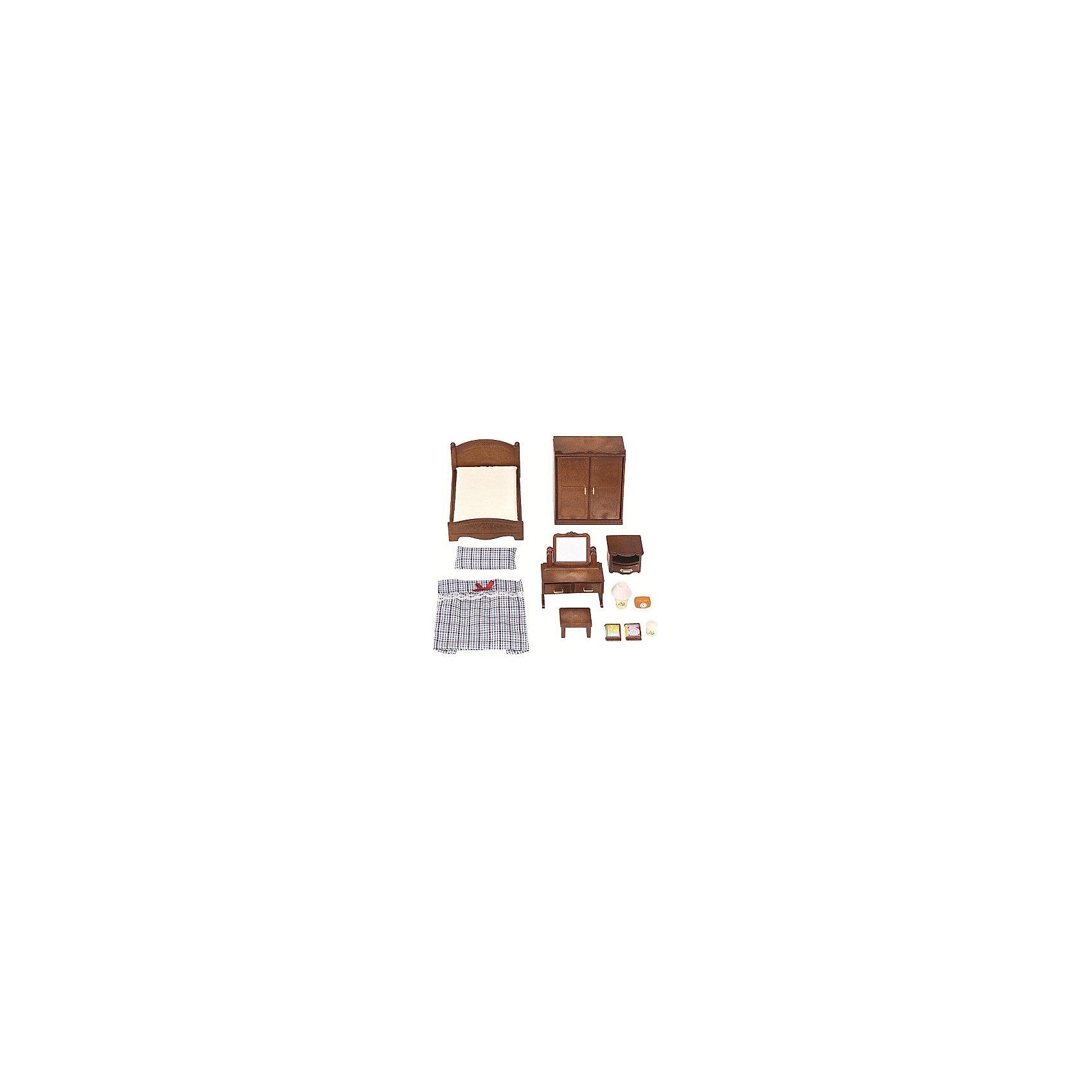Набор Спальня Sylvanian Families, коричневыйSylvanian Families<br>Классический набор «Спальня « от Silvanian Families (Сильваниас Фэмилиес) поможет обустроить спальную комнату в домике лесных зверушек. Для этого в комплекте есть все необходимое.<br><br>В него, помимо, полутораспальной кровати и тумбочки входит еще множество других интересных предметов для обустройства уютной спальни.<br>В двустворчатый платяной шкаф можно сложить одежду,  а туалетный столик с зеркалом и двумя выдвижными ящиками подойдет для хранения мелочей. <br><br>Высокое качество и внимание к деталям  каждого элемента набора,  является отличительной чертой всех игрушек из доброго мира Sylvanian Families.<br><br>В комплект входит: <br> кровать с постельными принадлежностями<br>шкаф<br>туалетный столик<br>тумбочка<br>аксессуары<br><br>Материал: текстиль, ПВХ с полимерным наполнением, пластмасса.<br><br>Дополнительная информация:<br>Размер упаковки: 30x15x8 см<br><br>Ширина мм: 306<br>Глубина мм: 171<br>Высота мм: 65<br>Вес г: 337<br>Возраст от месяцев: 36<br>Возраст до месяцев: 72<br>Пол: Женский<br>Возраст: Детский<br>SKU: 4797218