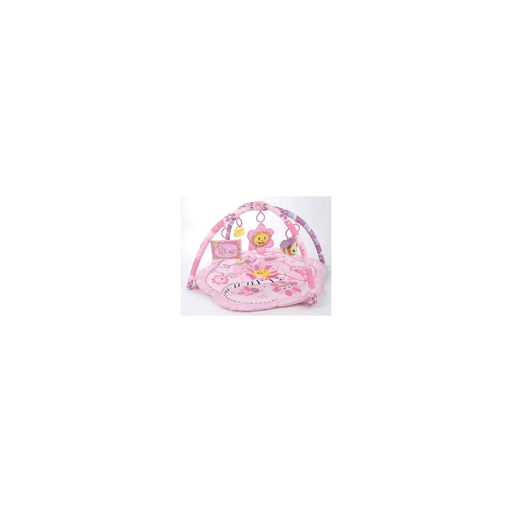 Развивающий коврик с подвесными игрушками Розовый сон, Leader kidsХарактеристики:<br><br>• Предназначение: для развития<br>• Возраст: от 0 до 3 лет<br>• Пол: для девочки<br>• Цвет: оттенки розового, фиолетовый, желтый, белый<br>• Тематика рисунка: цветы<br>• Материал: полиэстер, пластик<br>• Комплектация: коврик, две дуги с петлями для подвешивания игрушек, 2 погремушки: цветочек и пчела, прорезыватель-пчелка, двухсторонняя фото-рамка<br>• Размеры (Ш*Д): 76*76 см<br>• Наличие различных звуковых и шумовых эффектов<br>• Вес: 900 г <br>• Особенности ухода: допускается деликатная стирка без использования красящих и отбеливающих средств<br><br>Развивающий коврик с подвесными игрушками Розовый сон, Leader kids производителем которого является отечественный торговый бренд, предназначен для детей от 3 месяцев. Основание коврика выполнено в форме большого цветка, к основанию за счет пластиковых крючков закрепляются две дуги, на которые подвешиваются погремушки. В комплекте предусотрены: две мягкие погремушки в форме цветка и в форме пчелки, один прорезыватель в форме пчелки и одна фоторамка-кармашек из текстиля. На основании коврика также предусмотрены игровые объемные элементы. Коврик выполнен из экологически безопасных материалов, у игрушек отсутствуют острые углы и твердые элементы. Игры на развивающем коврике с подвесными игрушками Розовый сон, Leader kids будут способствовать зрительному и слуховому восприятию. Кроме того, различные по фактуре игровые элементы позволят развивать у ребенка тактильные ощущения и мелкой моторики рук. Развивающий коврик с подвесными игрушками Розовый сон, Leader kids доставит много радости Вашему ребенку.<br><br>Развивающий коврик с подвесными игрушками Розовый сон, Leader kids можно купить в нашем интернет-магазине.<br><br>Ширина мм: 840<br>Глубина мм: 450<br>Высота мм: 760<br>Вес г: 1066<br>Возраст от месяцев: 3<br>Возраст до месяцев: 36<br>Пол: Женский<br>Возраст: Детский<br>SKU: 4797312