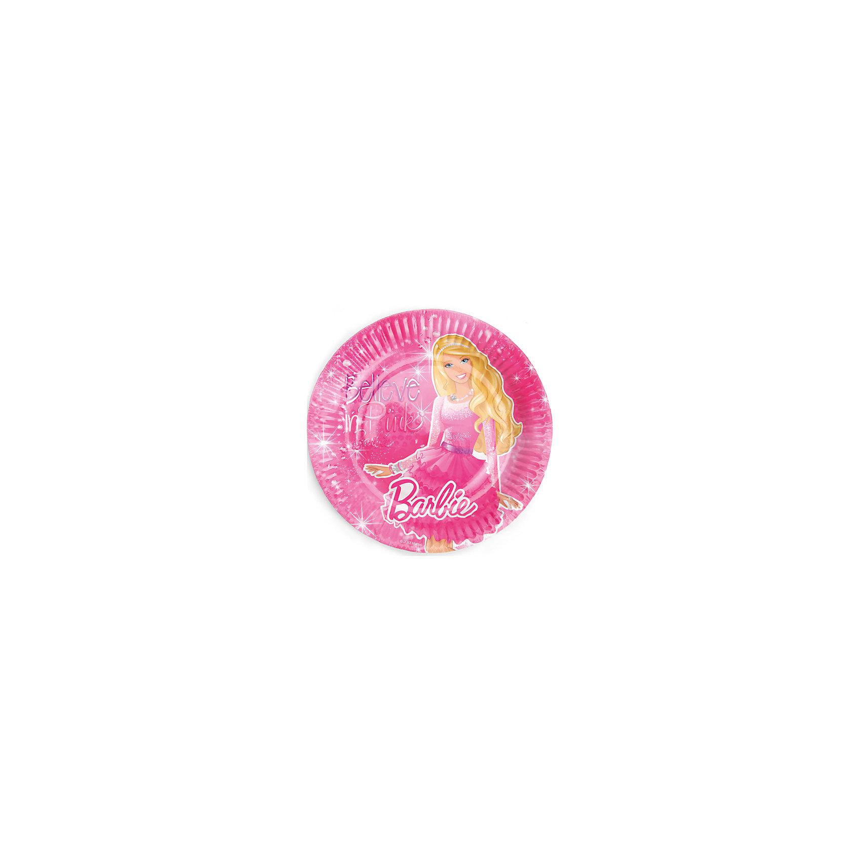 Набор из 6-и тарелок, BarbieНарядные и красивые тарелочки с Барби  одетой в пышную яркую юбку для вечеринок украсят своим изображением праздник. После использования тарелки можно просто выбросить в мусорное ведро или в костер. Они сделаны из бумаги и являются экологически чистым материалом.<br><br>Дополнительная информация:<br><br>- Материал: плотный картон.<br>- Комплект: 6 шт.<br>- Диаметр: 18 см.<br>- Размер упаковки: 20х26х2 см.<br>- Вес в упаковке: 70 г.<br><br>Купить набор из 6-и тарелок, Barbie,  можно в нашем магазине.<br><br>Ширина мм: 20<br>Глубина мм: 26<br>Высота мм: 2<br>Вес г: 70<br>Возраст от месяцев: 12<br>Возраст до месяцев: 2147483647<br>Пол: Женский<br>Возраст: Детский<br>SKU: 4797415