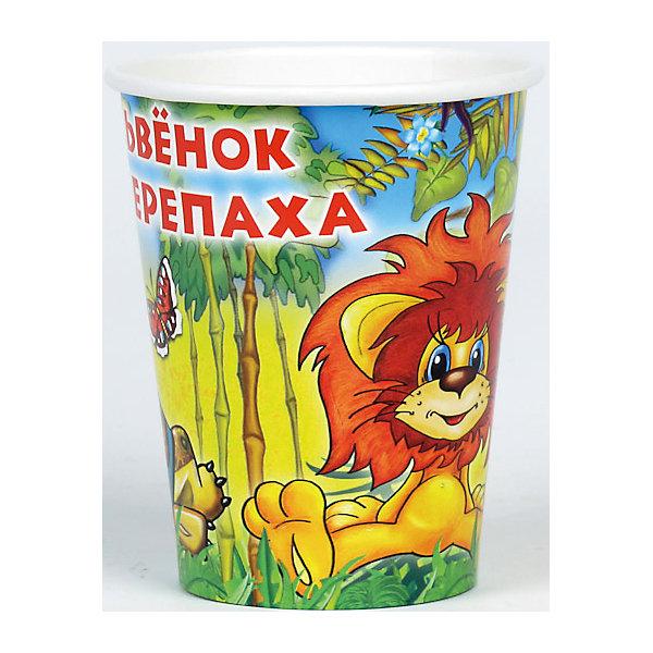 Набор из 6-ти стаканчиков Львенок и ЧерепахаСтаканы<br>Стаканчики из набора Львенок и черепаха сделаны из бумаги, они совершенно безопасны для ребенка и для окружающей среды. Ведь при сжигании бумага не выделяет в воздух абсолютно никаких вредных веществ. Кроме того стаканчики ярко оформлены изображением героев из любимыми многими советского мультфильма, который учит дружбе и добру.  <br><br>Дополнительная информация:<br><br>- Материал: плотный картон.<br>- Комплект: 6 шт.<br>- Объем: 150 мл.<br>- Размер упаковки: 13х23х8 см.<br>- Вес в упаковке: 60 г.<br><br>Купить набор из 6-и стаканчиков Львенок и Черепаха можно в нашем магазине.<br>Ширина мм: 13; Глубина мм: 23; Высота мм: 8; Вес г: 60; Возраст от месяцев: 12; Возраст до месяцев: 2147483647; Пол: Унисекс; Возраст: Детский; SKU: 4797420;