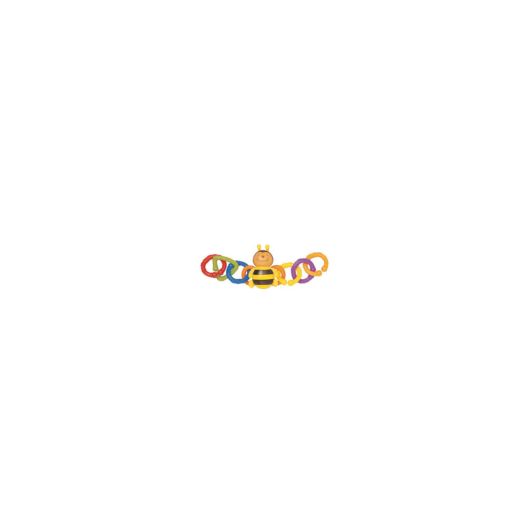 Набор для коляски Пчелка, Ks KidsНабор для коляски Пчелка, Ks Kids (Кс Кидс) ? развивающая яркая игрушка-подвеска, предназначенная для детей с самого рождения. Оригинальная форма исполнения ? в центре фигурка веселой пчелки, у которой к крыльям прикреплены по три кольца в обе стороны ?обеспечивает ее функциональность и длительное использование. Эта погремушка может быть прикреплена не только к поручню коляски, но и к кроватке, автокреслу, стульчику для кормления или к бортикам манежа. Закрепляться она может как с двух сторон, так и с одной.<br>Разноцветные кольца разной фактуры, цвета и форм набора для коляски Пчелка, Ks Kids (Кс Кидс) позволяют развивать зрительное восприятие, тактильные ощущения и хватательный рефлекс с самых первых дней жизни малыша. Подросшим малышам, данная игрушка будет незаменимой в качестве грызунка во время прорезывания зубов. <br>Годовалому малышу набор для коляски Пчелка, Ks Kids позволит в легкой игровой форме изучить основные цвета и формы.<br>Игрушка для коляски Пчелка, Ks Kids (Кс Кидс) изготовлена из экологически безопасных материалов, устойчивых к механическим повреждениям и выгоранию цвета.<br><br>Дополнительная информация:<br><br>- Вид игр: развивающие<br>- Предназначение: для дома, для прогулки<br>- Материал: текстиль, пластик<br>- Размер: 11*11*35 см<br>- Вес: 170 г<br>- Комплектация: фигурка пчелки, 6 съемных колец разного цвета и формы <br>- Особенности ухода: разрешается деликатная стирка <br><br>Подробнее:<br><br>• Для детей в возрасте: от 0 месяцев до 1 года<br>• Страна производитель: Китай<br>• Торговый бренд: Ks Kids<br><br>Набор для коляски Пчелка, Ks Kids  (Кс Кидс) можно купить в нашем интернет-магазине.<br><br>Ширина мм: 110<br>Глубина мм: 110<br>Высота мм: 35<br>Вес г: 170<br>Возраст от месяцев: 0<br>Возраст до месяцев: 12<br>Пол: Унисекс<br>Возраст: Детский<br>SKU: 4799438