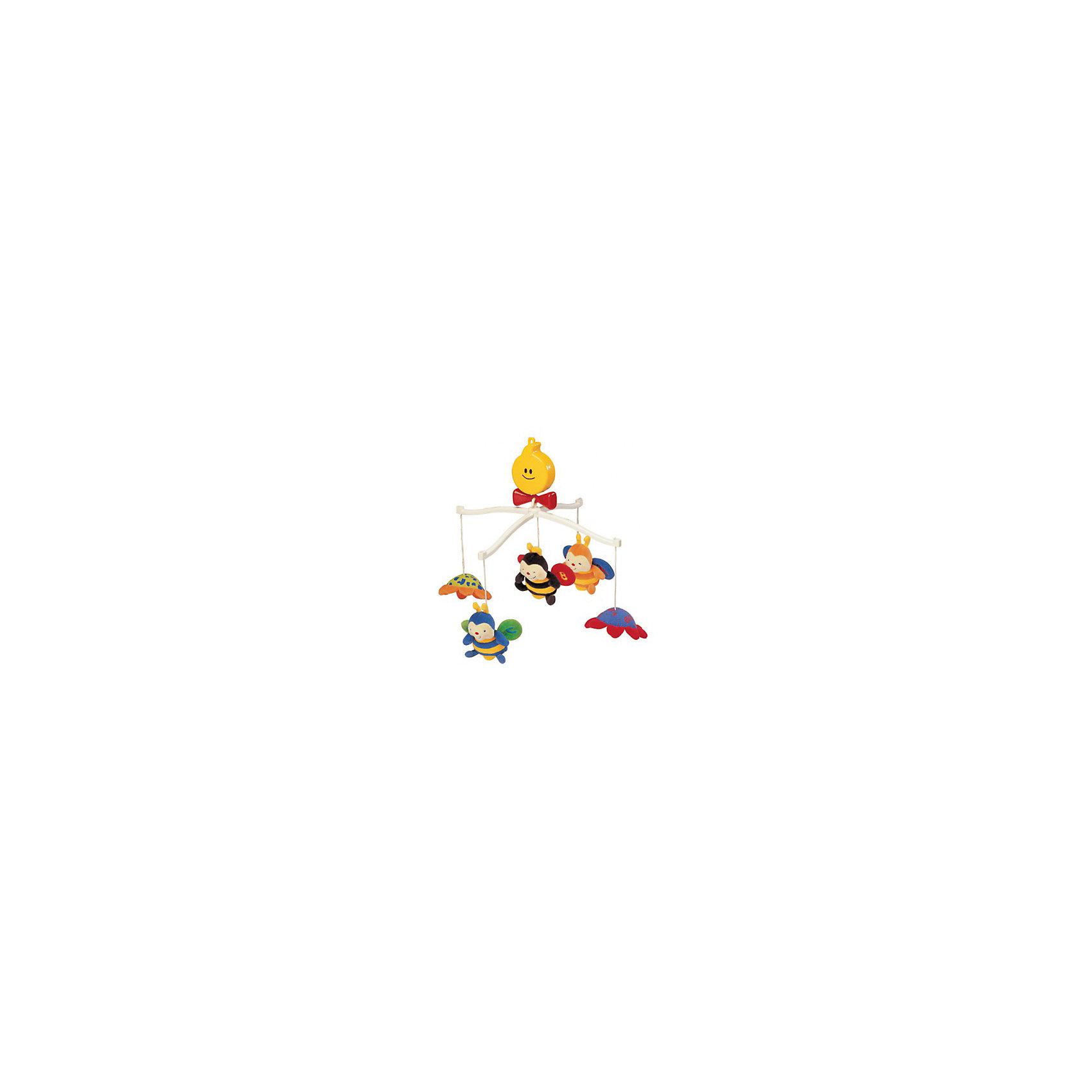 Крутящиеся музыкальные игрушки Пчелки, Ks KidsПодвески<br>Крутящиеся музыкальные игрушки Пчелки, Ks Kids (Кс Кидс) ? музыкальный мобиль, предназначенный для детской кроватки. Комплектация игрушки включает в себя заводной механизм, игрушки-подвески и держатель. Все элементы выполнены из экологически безопасных и качественных материалов. Каждая из подвесных игрушек наделена тем или иным функционалом: центральная пчелка ? погремушка, у двух других пчелок шуршат крылышки, а у цветочков имеются безопасные зеркала из пластика.  <br>В движение мобиль приводится от механического завода, который оформлен в стиле яркого солнышка с красным бантиком. Плавные движения мобиля сопровождаются приятной успокаивающей музыкой, которая будет способствовать быстрому засыпанию вашего малыша. <br>Крутящиеся музыкальные игрушки Пчелки, Ks Kids (Кс Кидс) направлены на развитие зрительных и слуховых функций ребенка, учат концентрировать внимание на понравившемся предмете. Для малыша постарше подвесные игрушки могут быть использованы в качестве отдельных игрушек.<br><br>Дополнительная информация:<br><br>- Вид игр: развивающие<br>- Предназначение: для дома<br>- Материал: текстиль, пластик<br>- Размер: 37*63*37 см<br>- Вес: 605 г<br>- Комплектация: заводной механизм, держатель, дуги, 3 пчелки, 2 цветочка зеркальца<br>- Особенности ухода: текстильные игрушки можно стирать, пластиковые элементы мыть, заводной механизм протирать влажной губкой <br><br>Подробнее:<br><br>• Для детей в возрасте: от 0 месяцев до 1 года<br>• Страна производитель: Китай<br>• Торговый бренд: Ks Kids<br><br>Крутящиеся музыкальные игрушки Пчелки, Ks Kids (Кс Кидс) можно купить в нашем интернет-магазине.<br><br>Ширина мм: 370<br>Глубина мм: 630<br>Высота мм: 370<br>Вес г: 605<br>Возраст от месяцев: 0<br>Возраст до месяцев: 12<br>Пол: Унисекс<br>Возраст: Детский<br>SKU: 4799439