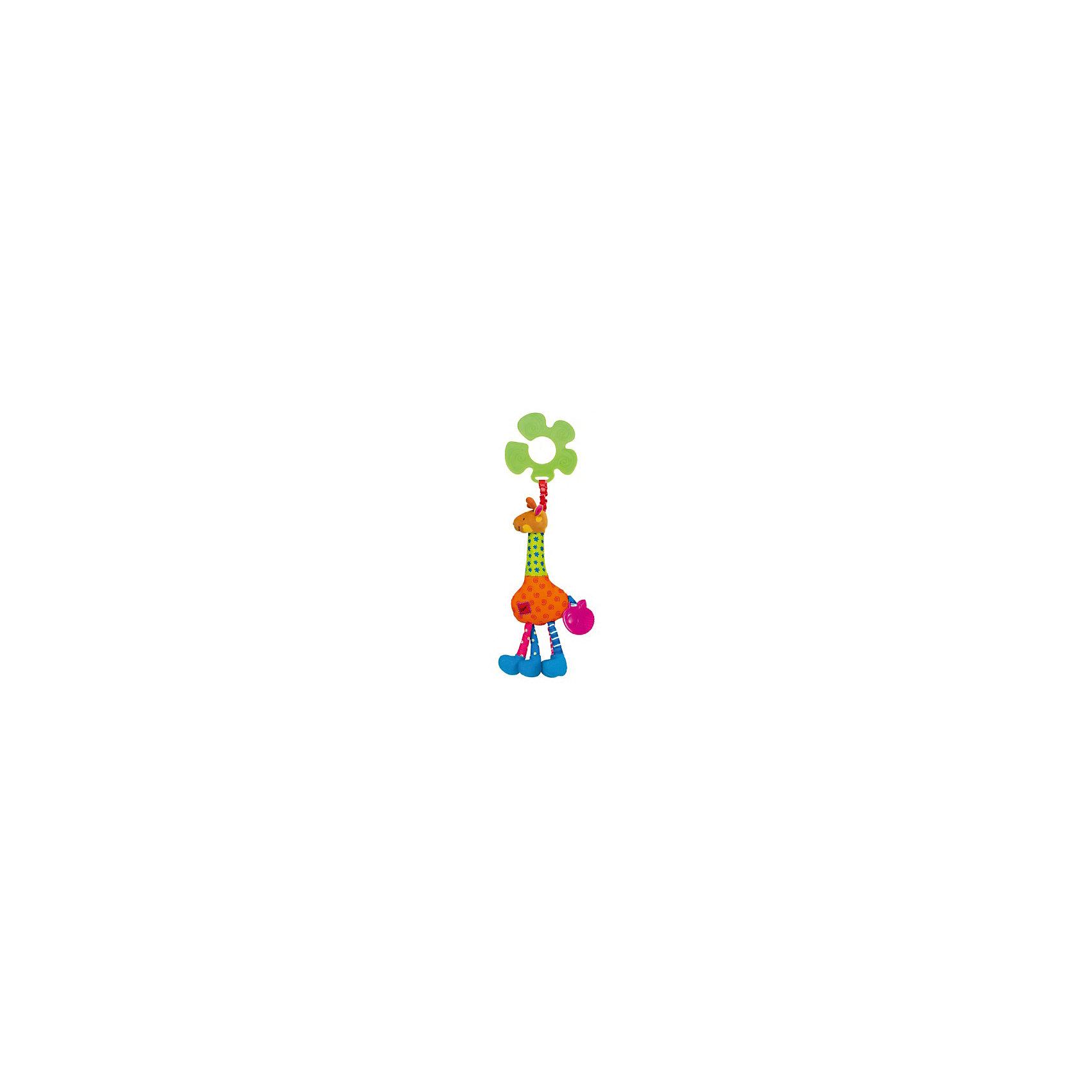 Жираф Игорь подвеска, Ks KidsПодвески<br>Жираф Игорь подвеска, Ks Kids (Кс Кидс) ? развивающая игрушка-подвеска, предназначенная для детей с самого рождения. Подвеска выполнена в форме знаменитого персонажа Кс Кидс ? забавного жирафа Игоря. <br>У жирафа все элементы тела имеют различные звуковые эффекты: каждая из четырех ног издает свои звуки, если их сжать или потереть (шуршание, хруст), в голове ? погремушка, пищалка ? в животе, а на хвосте ? резиновый прорезыватель в форме зеленого яблока. Каждый элемент жирафа выполнен из ярких текстильных деталей с различными простейшими рисунками (горошинки, звездочки, полосочки, спиральки). К пластиковому кольцу-держателю Игорь прикреплен яркой широкой резинкой. Если резинку оттянуть, при возвращении ее в исходное состояние, жираф будет слегка вибрировать. Саму игрушку можно подвешивать к абсолютно любому поручню: будь то коляска, кроватка, автокресло, стульчик для кормления или дуга от любого развивающего коврика. <br>Игрушка изготовлена из высококачественного гипоаллергенного текстильного материала.<br>Все элементы Жирафа Игоря подвески, Ks Kids (Кс Кидс) направлены на сенсомоторное развитие вашего малыша. <br><br>Дополнительная информация:<br><br>- Вид игр: развивающие<br>- Предназначение: для дома, для прогулки<br>- Материал: текстиль, пластик<br>- Размер: 12*33*3 см<br>- Вес: 150 г<br>- Особенности ухода: можно стирать в щадящем режиме<br><br>Подробнее:<br><br>• Для детей в возрасте: от 0 месяцев до 1 года<br>• Страна производитель: Китай<br>• Торговый бренд: Ks Kids (Кс Кидс)<br><br>Жирафа Игоря подвеску, Ks Kids (Кс Кидс) можно купить в нашем интернет-магазине.<br><br>Ширина мм: 120<br>Глубина мм: 330<br>Высота мм: 30<br>Вес г: 150<br>Возраст от месяцев: 0<br>Возраст до месяцев: 12<br>Пол: Унисекс<br>Возраст: Детский<br>SKU: 4799441