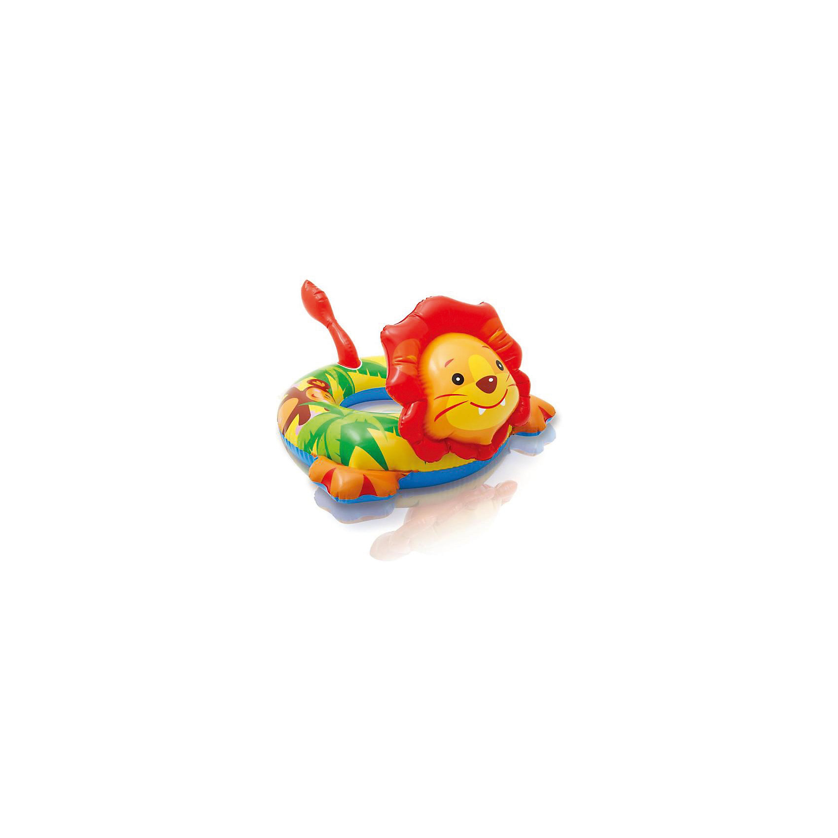 Детский надувной круг Зверюшка - Лев, IntexКруги и нарукавники<br>Характеристики товара:<br><br>• размер: 81x56 см.<br>• толщина винила 0,20 мм.<br>• максимальная нагрузка до 20 кг.<br>• гладкий внутренний шов<br>• двойной клапан<br><br>Детский надувной круг от Intex (Интекс), выполненный в виде очаровательной зверюшки, замечательно подойдет для обучения малыша плаванию. <br><br>Круг изготовлен из прочного винила, его окраска нанесена не сверху, а как бы пропитывает материал, поэтому не стирается и не выцветает. <br><br>Двойной клапан исключает случайное травление воздуха. <br><br>Детский надувной круг Зверюшка, Intex (Интекс) можно купить в нашем интернет-магазине.<br><br>Ширина мм: 190<br>Глубина мм: 128<br>Высота мм: 40<br>Вес г: 282<br>Возраст от месяцев: 36<br>Возраст до месяцев: 72<br>Пол: Унисекс<br>Возраст: Детский<br>SKU: 4801494