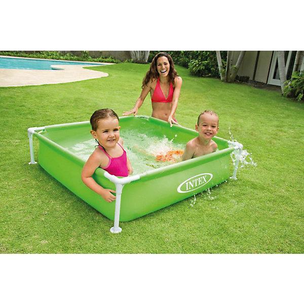 Каркасный детский бассейн , Intex, зеленыйБассейны<br>Характеристики товара:<br><br>• комплектация: бассейн, ремкомплект<br>• размер: 122х122х30 см.<br>• объем (при 80% заполнении): 337 л.<br>• глубина: 30 см.<br>• материал чаши бассейна: прочный ПВХ (винил) толщиной 0,50 мм (стенки) и 0,25 мм (дно)<br>• вес: 4,9 кг<br><br>Каркасный детский бассейн квадратной формы от Intex (Интекс) собирается из стойких к коррозии стальных труб. <br><br>На горизонтальных перекладинах имеются мягкие накладки для комфортного безопасного купания малышей. <br><br>Из-за своего небольшого объема, вода в таком бассейне быстро нагревается на солнце. <br><br>Бассейн удобен в эксплуатации. Он может быть собран в 10 минут и готов к заполнению. <br><br>В случае загрязнения воды, достаточно воспользоваться специальным клапаном для ее слива, который находится внизу бассейна.<br><br>ВНИМАНИЕ! Данный артикул представлен в разных вариантах исполнения. К сожалению, заранее выбрать определенный вариант невозможно.<br><br>Каркасный детский бассейн , Intex можно купить в нашем интернет-магазине.<br>Ширина мм: 625; Глубина мм: 150; Высота мм: 165; Вес г: 4940; Возраст от месяцев: 24; Возраст до месяцев: 1164; Пол: Унисекс; Возраст: Детский; SKU: 4801495;