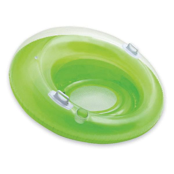 Надувной круг с дном Садись и отдыхай (зеленый), IntexКруги и нарукавники<br>Характеристики товара:<br><br>• цвет: в ассортименте<br>• диаметр: 119 см.<br>• внутренний диаметр: 50 см.<br>• материал: ПВХ (винил) толщина 0,3 мм. <br>• размер упаковки: 23х20х8 см.<br>• вес: 1,4 кг. <br><br>Большой надувной круг Садись и отдыхай с удобными пластиковыми ручками и углублением для стакана будет большой радостью детям и взрослым летом на водоеме. <br><br>У круга две воздушные камеры, дно - сетчатое. <br><br>Гладкий внутренний шов не будет натирать кожу. <br><br>В нем можно комфортно расположиться, не боясь выпасть.<br><br>В сложенном состоянии круг, имеет небольшие размеры, что позволяет брать его с собой в любое путешествие. <br><br>Надувной круг с дном Садись и отдыхай, Intex (Интекс) можно купить в нашем интернет-магазине.<br>Ширина мм: 258; Глубина мм: 231; Высота мм: 104; Вес г: 1367; Возраст от месяцев: 96; Возраст до месяцев: 1164; Пол: Унисекс; Возраст: Детский; SKU: 4801497;