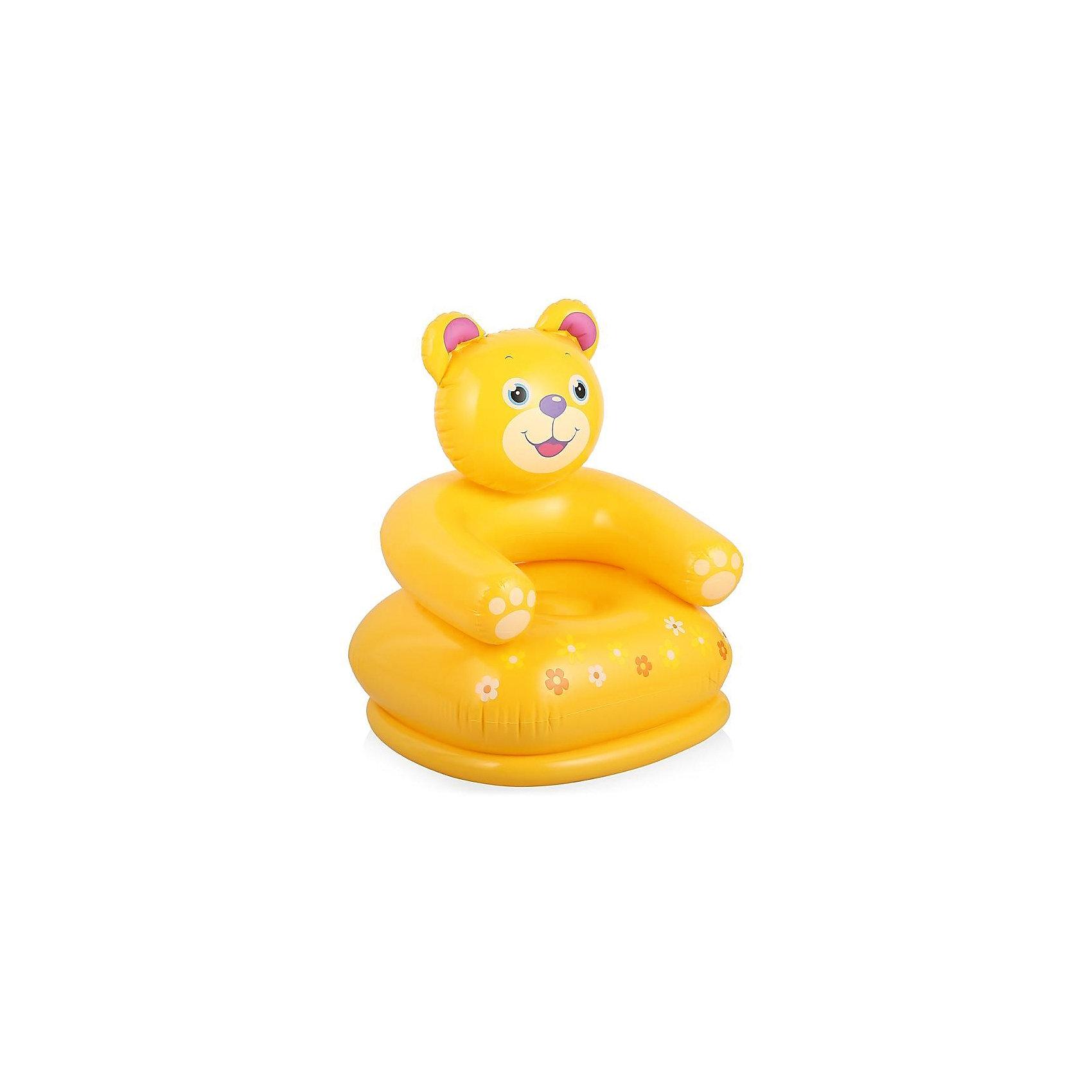 Intex Детское надувное кресло Веселые звери -Медведь, Intex лодка intex challenger k1 68305