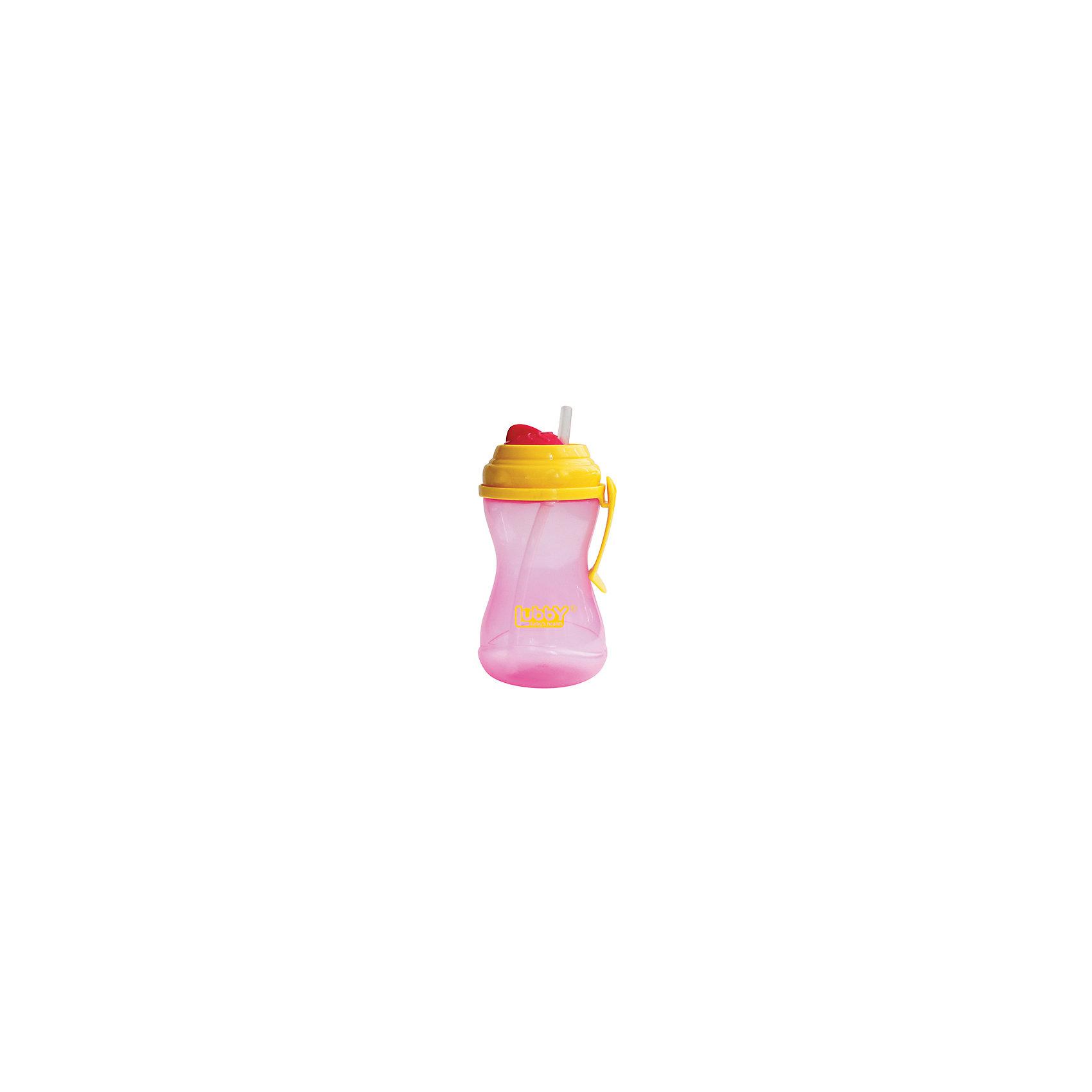 LUBBY Поильник-непроливайка Twist с трубочкой от 6 мес., 320 мл., LUBBY, розовый pigeon чашка поильник mag mag с трубочкой зеленый с 8 мес 200 мл