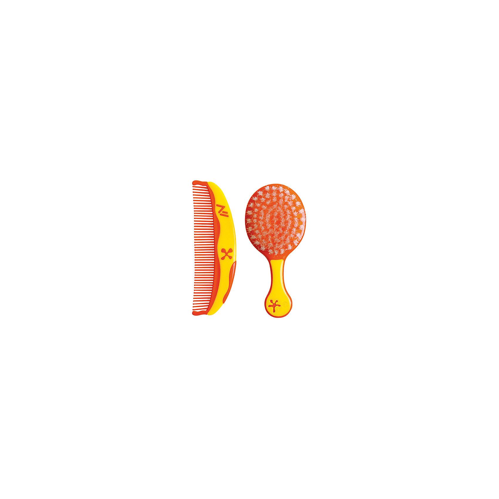 Набор для детей расческа и щетка Звездочки от 0 мес., LUBBY, оранжевый/жёлтый