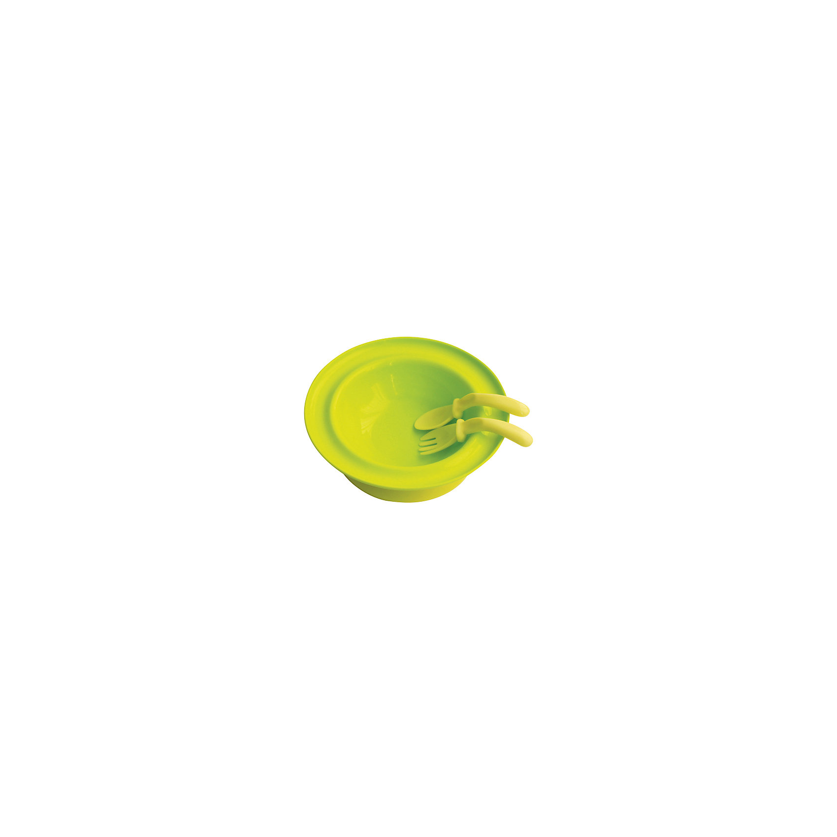Тарелка 250 мл. с присоской с вилкой и ложкой от 6 мес., LUBBY, зеленыйПосуда для малышей<br>Тарелка на присоске с приборами поможет Вашему малышу научиться кушать самостоятельно.  Форма ложки и вилки изогнутая и удобно размещается в ручке малыша. Присоска расположенная на оборотной стороне тарелки,   надежно  прикрепляя ее столу или любой другой гладкой поверхности. Для снятия тарелки с поверхности потяните присоску за язычок.<br><br>Дополнительная информация: <br><br>- состав: тарелка, ложка, вилка – полипропилен; присоска – р<br>- срок службы: 1 год<br>- комплектация: тарелка, присоска, ложка, вилка.<br>- размер: 250 мл.<br>- размер единичной упаковки (дхшхв) : 89*235*250<br><br>Тарелку  на присоске с ложкой и вилкой можно купить в нашем интернет-магазине.<br><br>Ширина мм: 235<br>Глубина мм: 89<br>Высота мм: 250<br>Вес г: 350<br>Возраст от месяцев: 6<br>Возраст до месяцев: 36<br>Пол: Унисекс<br>Возраст: Детский<br>SKU: 4801589