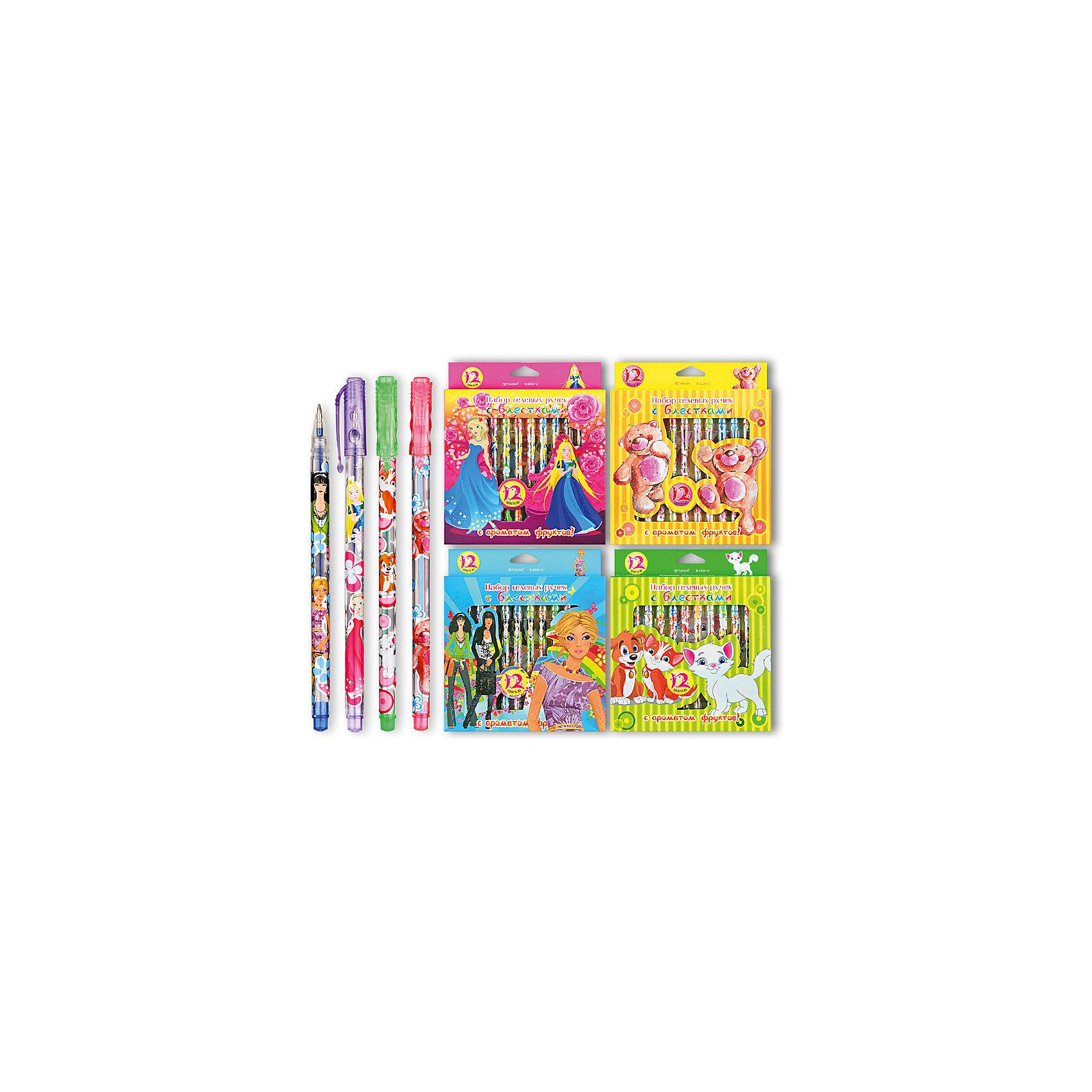 TUKZAR Набор гелевых ручек с блестками, ароматизированные, 12 цв. hao yue style набор гелевых ручек 4 цвета