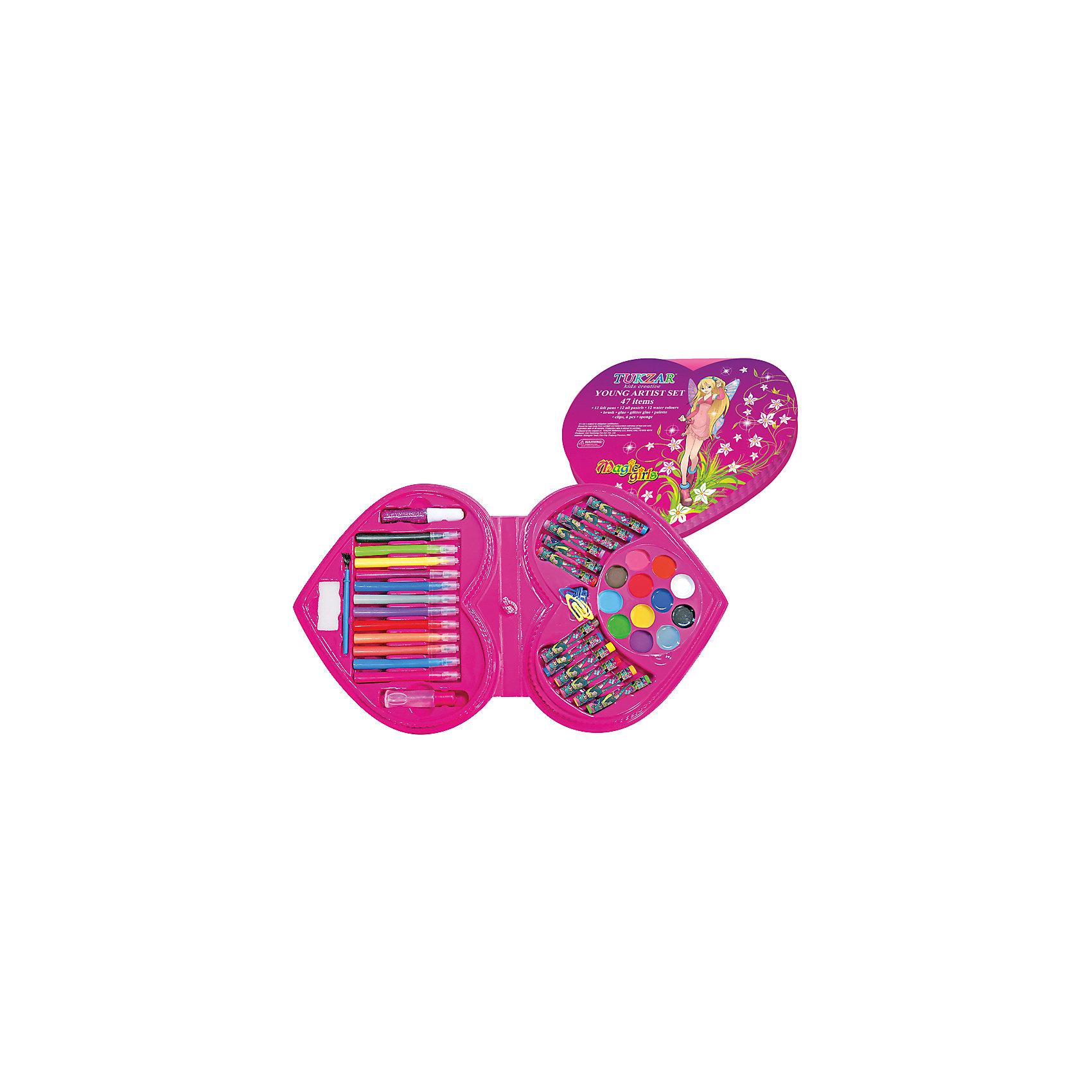 Набор для детского творчества Girls, 47 предметовНабор для детского творчества GIRLS, 47 предметов: 12 фломастеров, пастель 12 цв., акв. краски 12 цв., кисть, клей, гель с блестками, палитра, скрепки 6 шт., губка.  Упаковка - чемодан.<br><br>Ширина мм: 6<br>Глубина мм: 260<br>Высота мм: 300<br>Вес г: 600<br>Возраст от месяцев: 36<br>Возраст до месяцев: 2147483647<br>Пол: Женский<br>Возраст: Детский<br>SKU: 4801661
