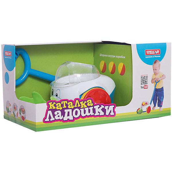 Каталка Ладошки, СтелларКаталки и качалки<br>Замечательная игрушка - каталка Ладошки - предназначена для маленького исследователя. С такой каталкой ваш малыш будет с удовольствием делать свои первые шаги. На данной игрушке предусмотрена удобная ручка, с помощью которой можно легко ею управлять. Внутри каталки находятся три ярких желто-красных шарика, которые, при перемещении управляемого транспорта, весело кружатся и выпрыгивают из кабинки. Ладошки каталки созданы специально для того, чтобы вылавливать эти шарики. Это очень веселая и забавная игрушка, которая поднимет настроение малышу. Кроме того, она развивает цветовое и тактильное восприятие, а также ловкость, глазомер и координацию.<br><br>Ширина мм: 230<br>Глубина мм: 280<br>Высота мм: 230<br>Вес г: 230<br>Возраст от месяцев: 12<br>Возраст до месяцев: 36<br>Пол: Унисекс<br>Возраст: Детский<br>SKU: 4801671