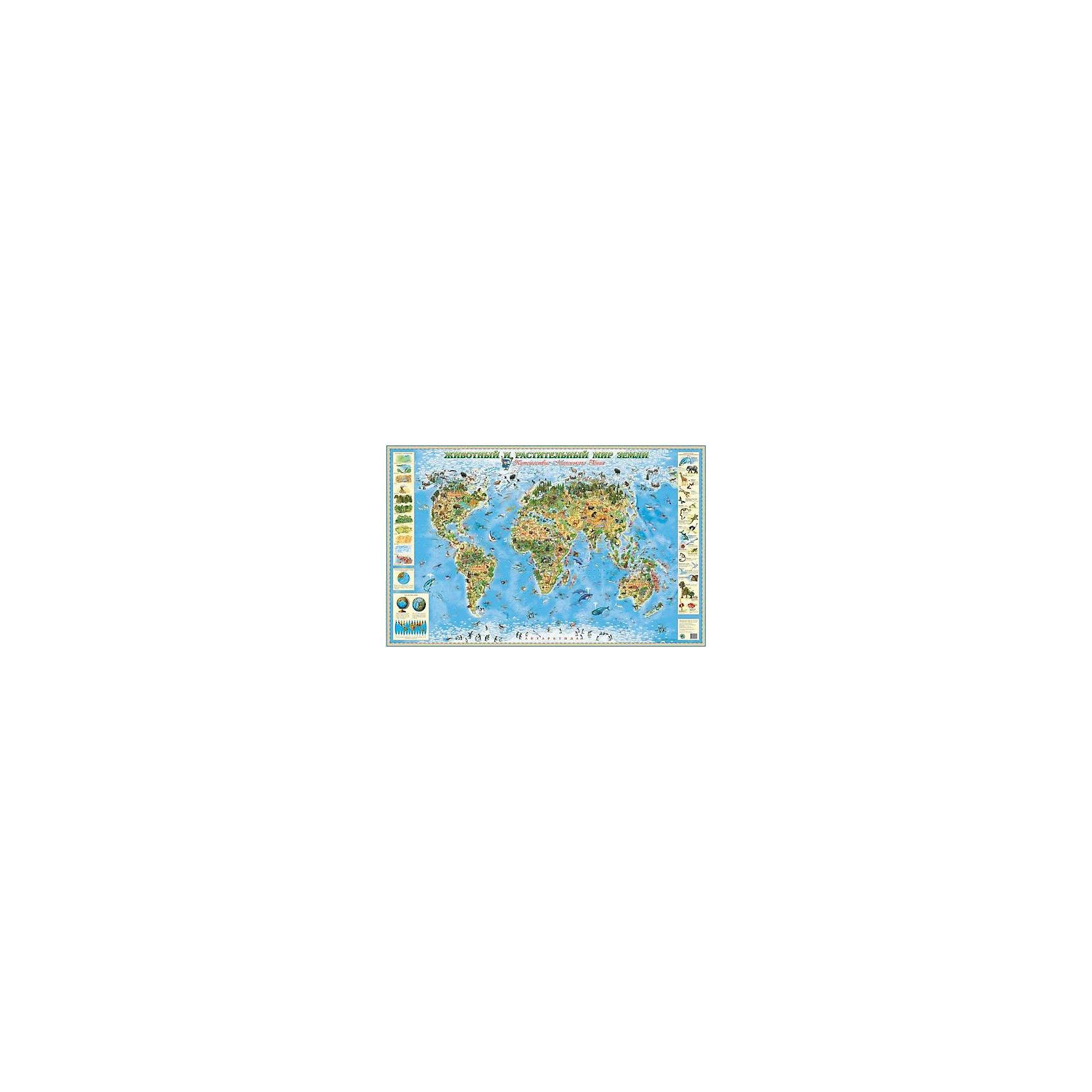 Карта Животный и растительный мир ЗемлиАтласы и карты<br>Первые географические пособия для малыша, которые познакомят его с многообразием и красотой окружающего мира. Особенностью этих карт является максимально точная научная информация, которая подается в яркой и привлекательной форме Оригинальные художественные иллюстрации дадут ребенку правильное представление о том, как выглядят те или иные объекты, а забавный игровой персонаж Маленький Гений превратит изучение карты в увлекательное путешествие.<br><br>Ширина мм: 1500<br>Глубина мм: 950<br>Высота мм: 2<br>Вес г: 400<br>Возраст от месяцев: 36<br>Возраст до месяцев: 192<br>Пол: Унисекс<br>Возраст: Детский<br>SKU: 4802965