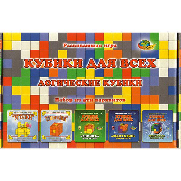 Развивающая игра Кубики для всех,набор из 5-ти вариантовКубики<br>Логические кубики (Кубики для всех) – это первые занимательные игры для детей от 2,5 – 3х лет – своеобразная «умственная гимнастика». Построение заданных и создание новых фигур развивают пространственное мышление, воображение, память (особенно зрительную), творческие способности, комбинаторные способности, пространственное представление и воображение, логическое мышление, смекалку и сообразительность. Постоянный пальчиковый контакт с кубиками способствует развитию мелкой моторики, стимулирует речевые центры. Набор Логические кубики из 5-ти вариантов: Уголки, Собирайка, Эврика, Фантазия, Загадка являются более сложным и увлекательным занятием, чем игры с обычными кубиками. Развивающие игры – вовсе не эликсир талантливости, но мощный стимул развития сообразительности и изобретательности. Кубики для всех доставят Вам приятные минуты совместного общения, сделают условия развития ребенка богаче и разнообразнее. Желаем творческих успехов детям и взрослым!<br>Ширина мм: 29; Глубина мм: 19; Высота мм: 10; Вес г: 750; Возраст от месяцев: 36; Возраст до месяцев: 2147483647; Пол: Унисекс; Возраст: Детский; SKU: 4803021;