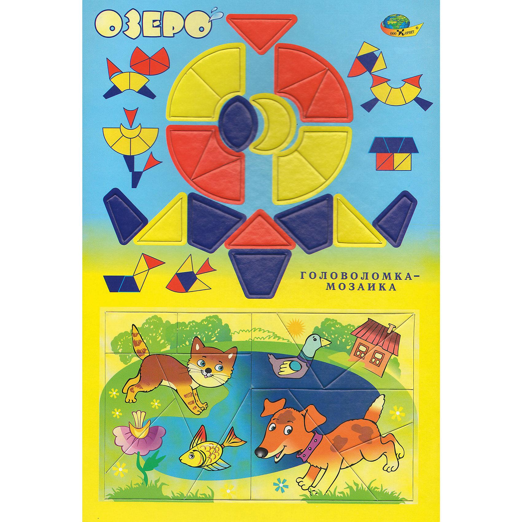 Развивающая головоломка-мозаика ОзероРазвивающие игры<br>Для полезного и приятного общения детей и взрослых. Игра служит для развития восприятия, пространственной ориентации, мелкой моторики, внимания, фантазии, речи. Предложенные для собирания фигурки могут оказаться персонажами историй, которые Вы придумаете вместе с Вашим ребенком. Например, про кошку с котенком или двух друзей-щенков...<br><br>Ширина мм: 30<br>Глубина мм: 21<br>Высота мм: 1<br>Вес г: 140<br>Возраст от месяцев: 48<br>Возраст до месяцев: 2147483647<br>Пол: Унисекс<br>Возраст: Детский<br>SKU: 4803027